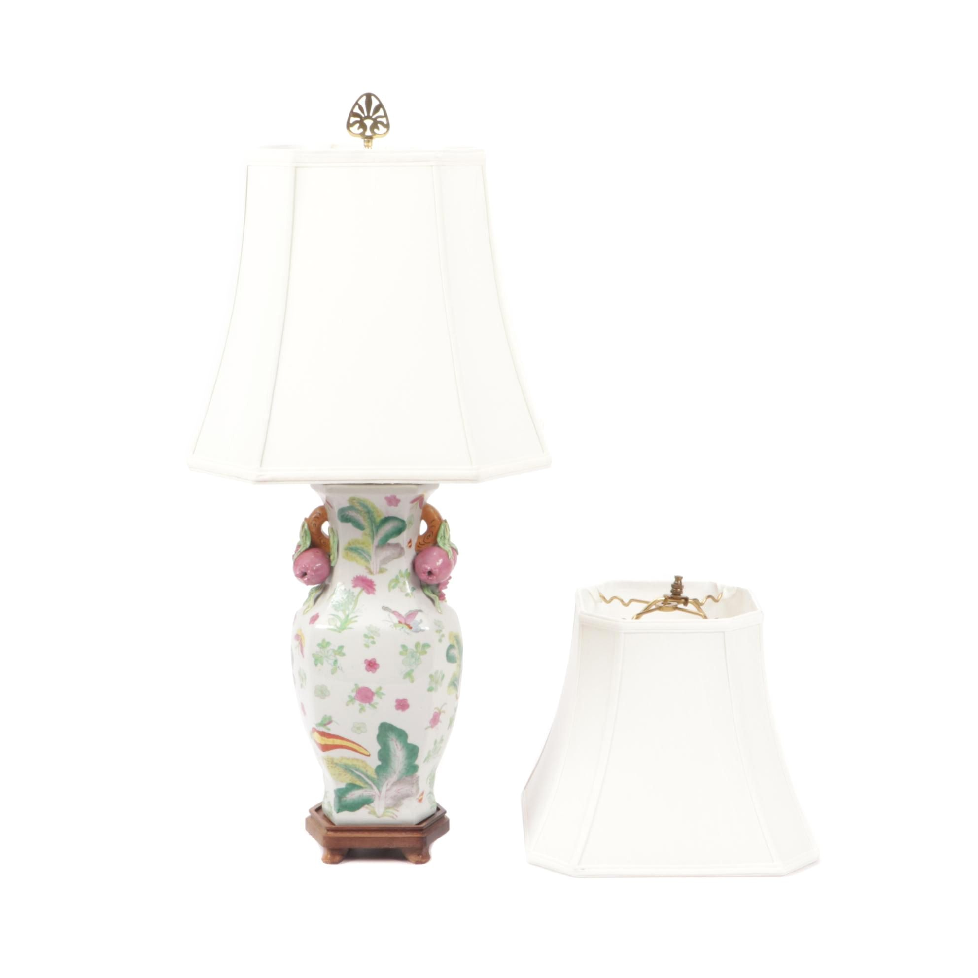 Painted Ceramic Table Lamp with Two Shades