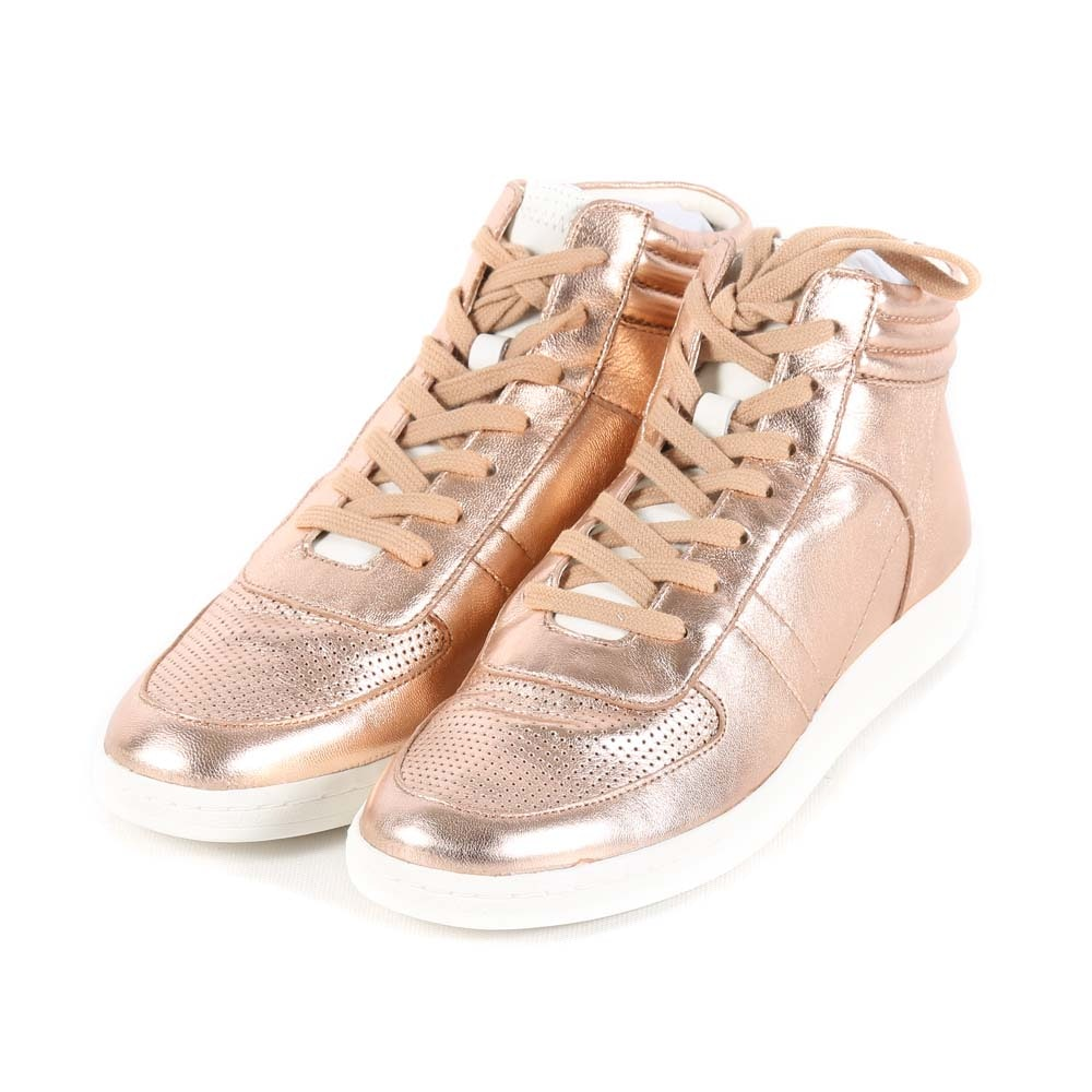 Dolce Vita Nate Rose Gold Metallic Leather Sneakers