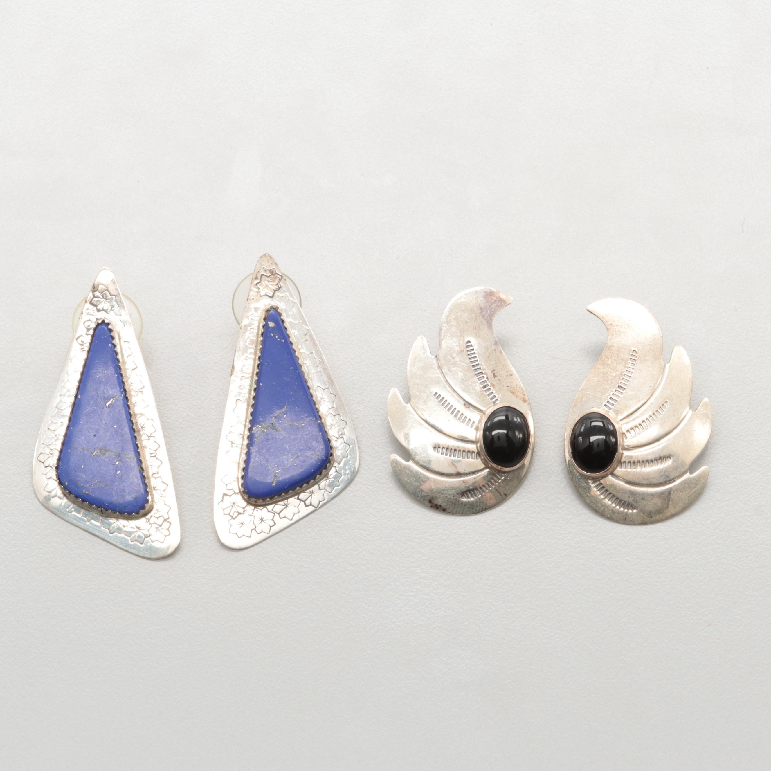 Southwest Sterling Silver Black Onyx and Imitation Lapis Lazuli Earrings