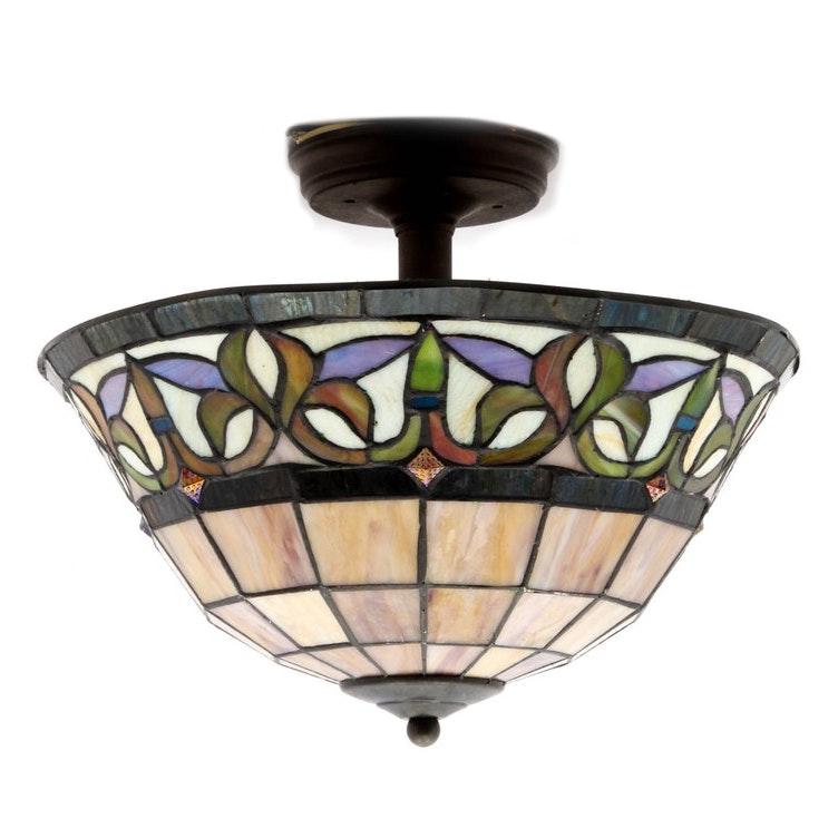 Slag Glass Two Light Pendant Light