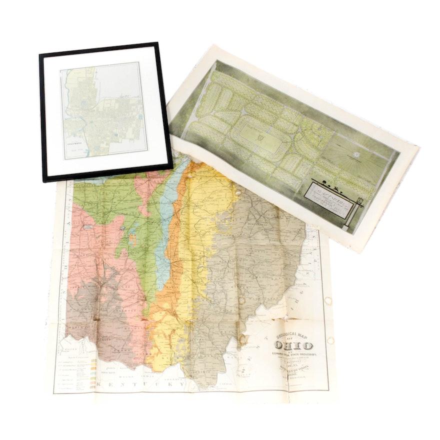 Antique Ohio Map.Antique Maps Of Columbus And Ohio Ebth