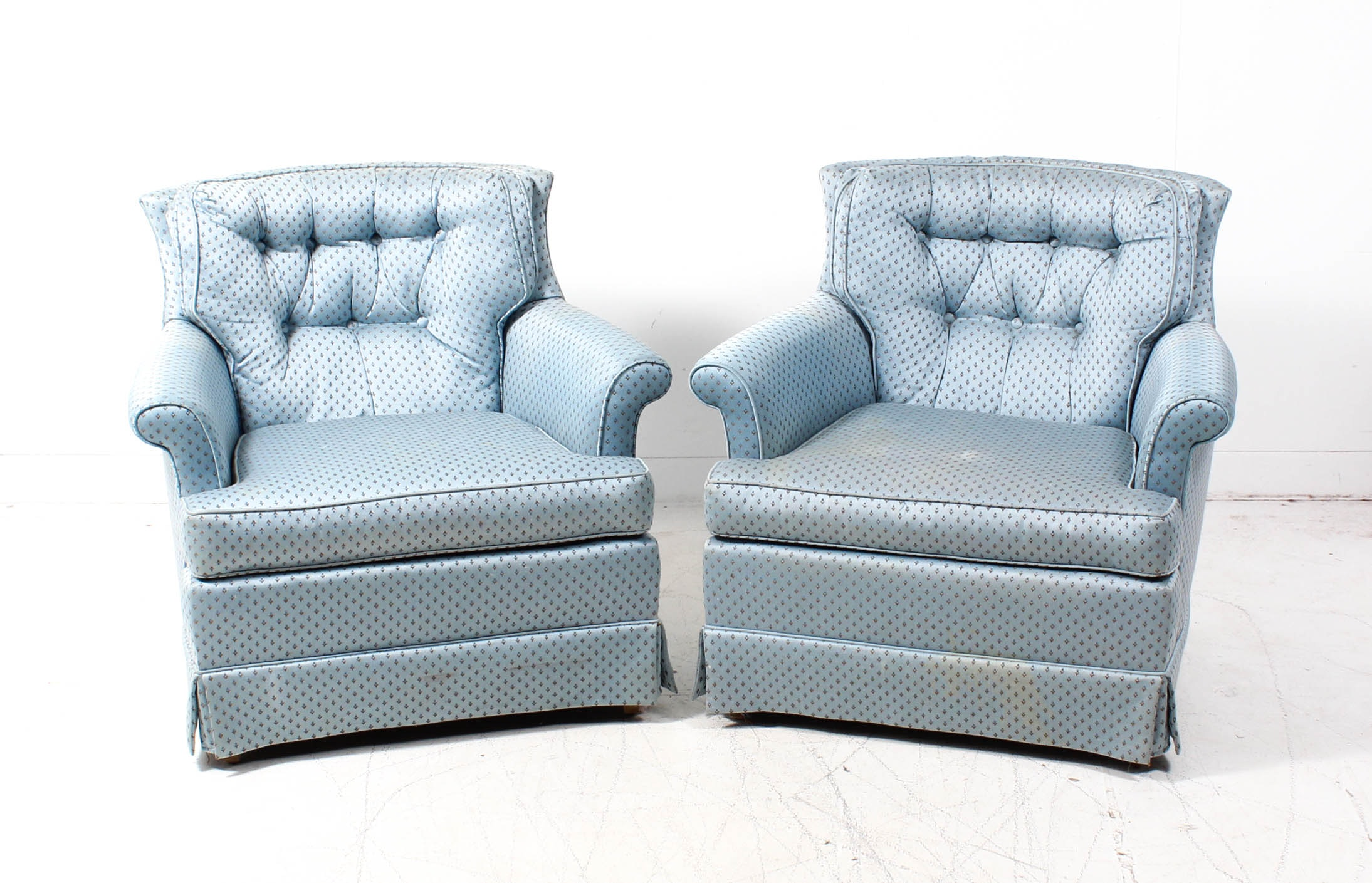 Light Blue Upholstered Club Chairs