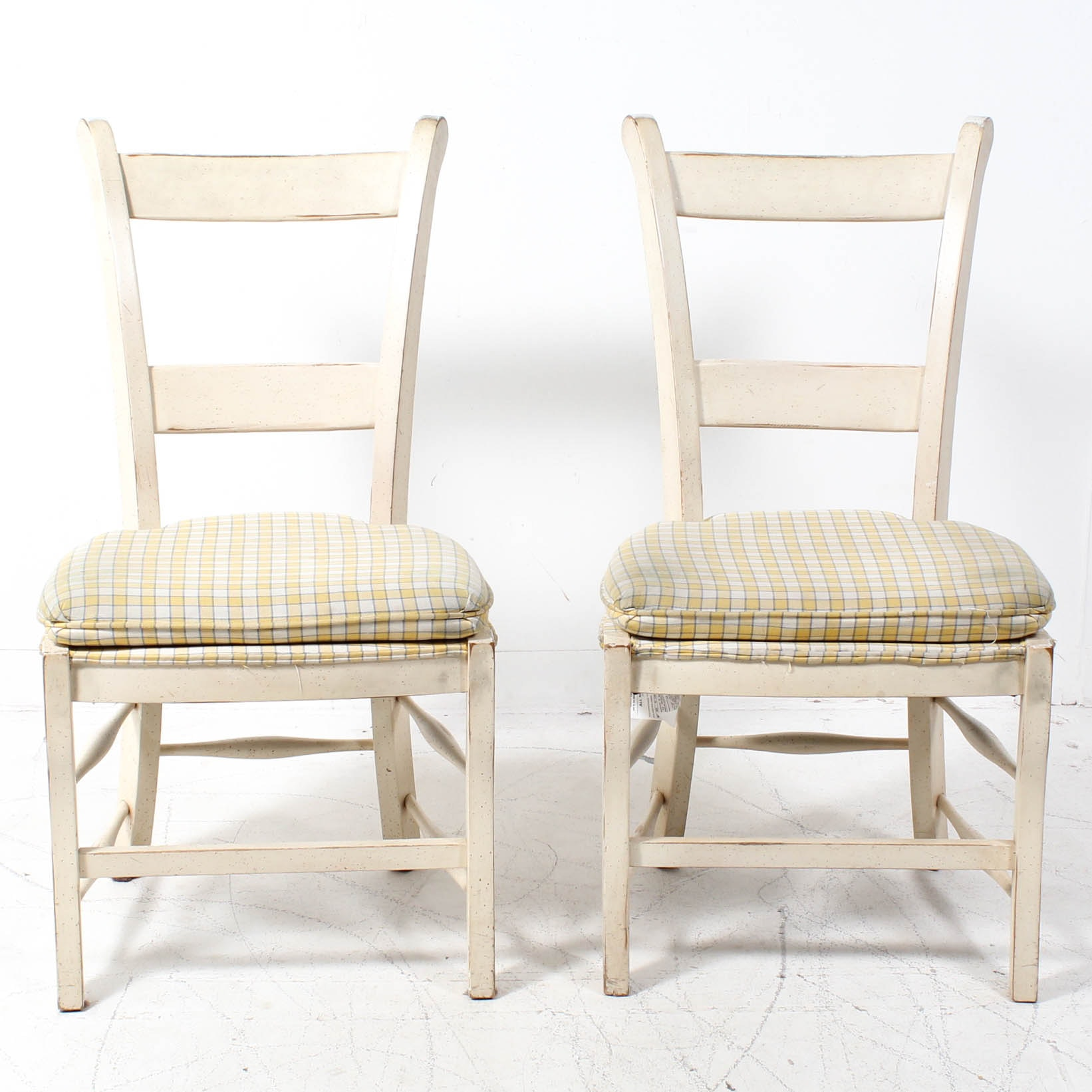 White Painted Wooden Side Chairs