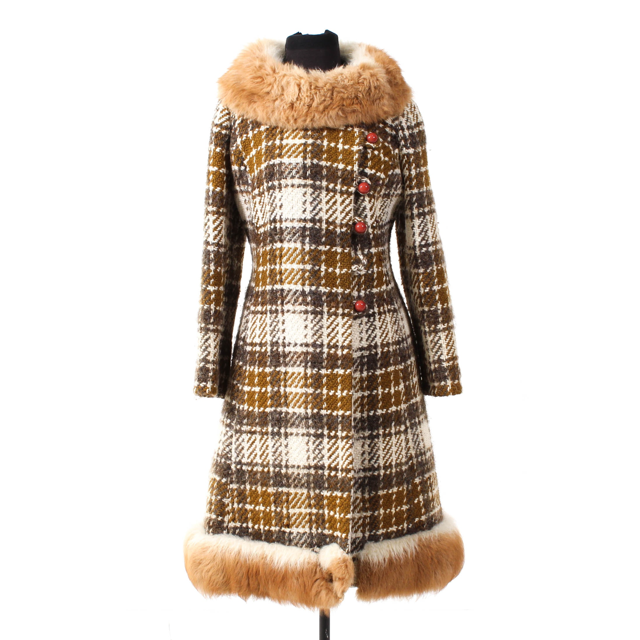 Vintage Guanaco Fur-Trimmed Plaid Wool Coat