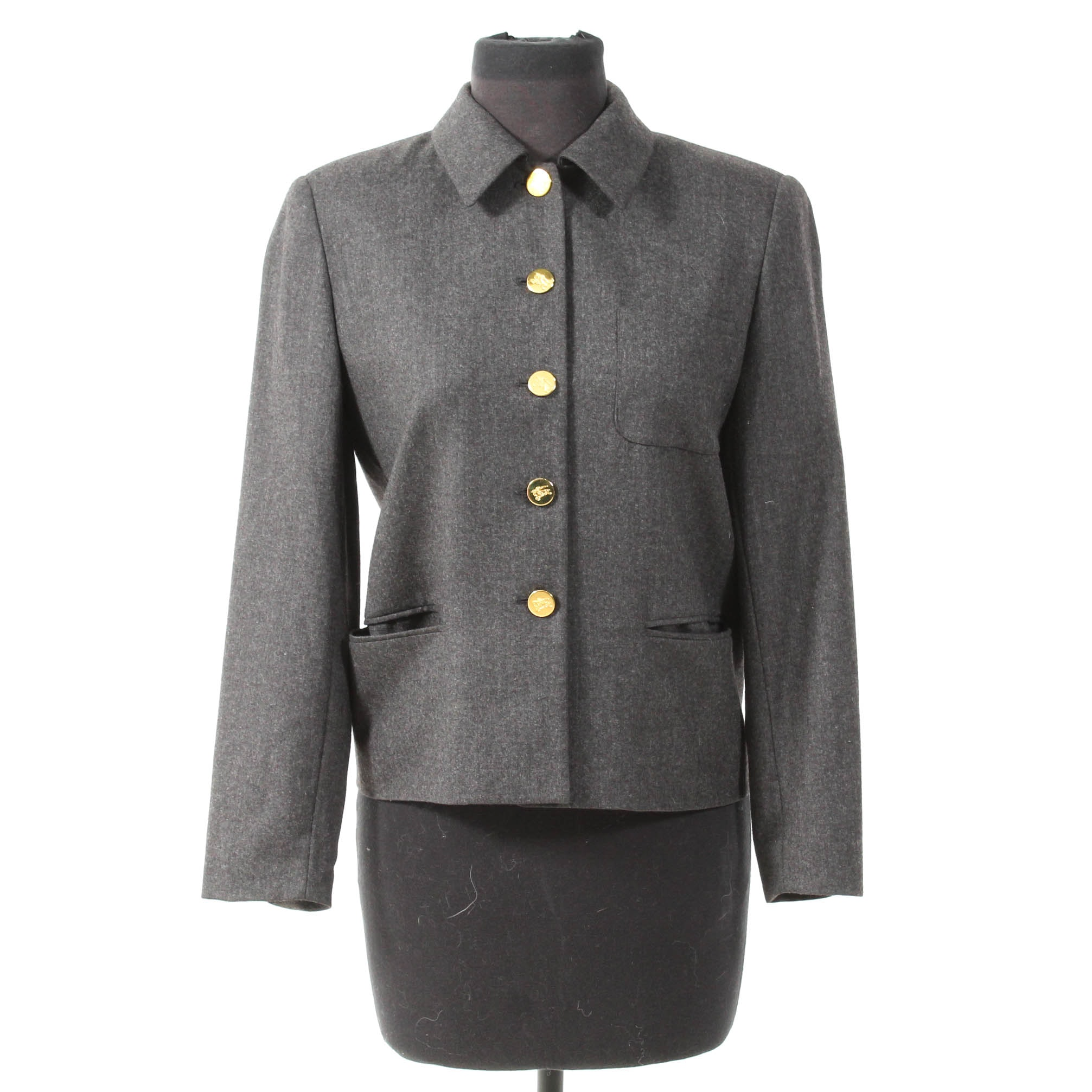 Vintage Burberry Gray Wool Blazer