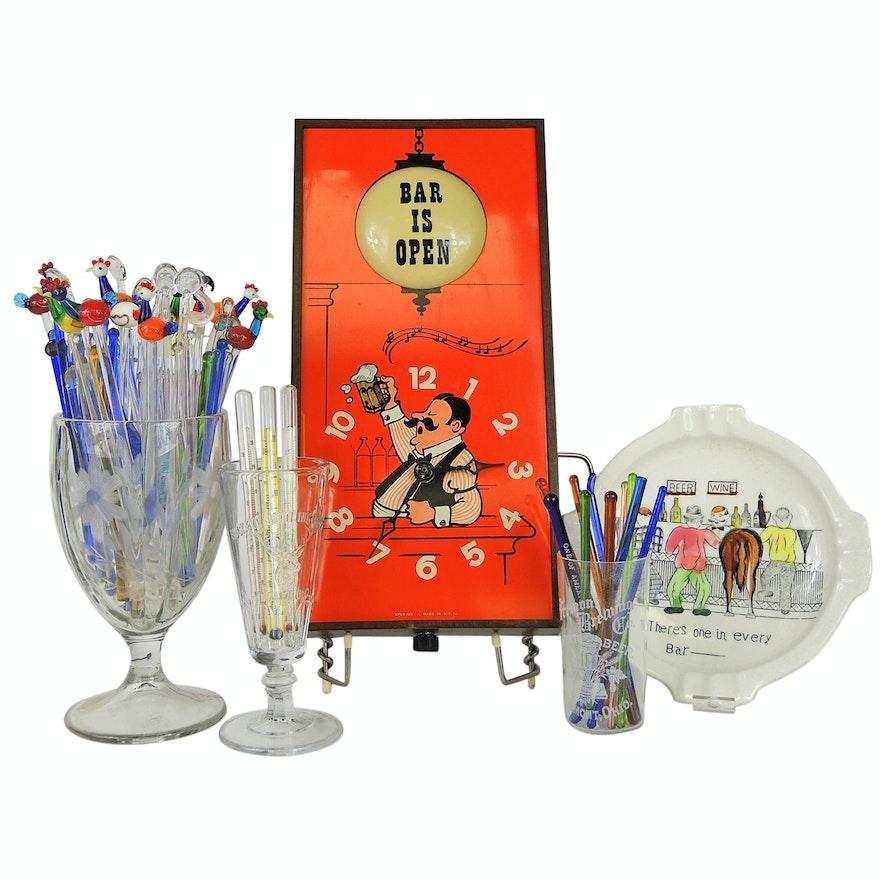 Retro Spartus Bar Clock With Breweriana Glassware Including Buckeye Bottle Works