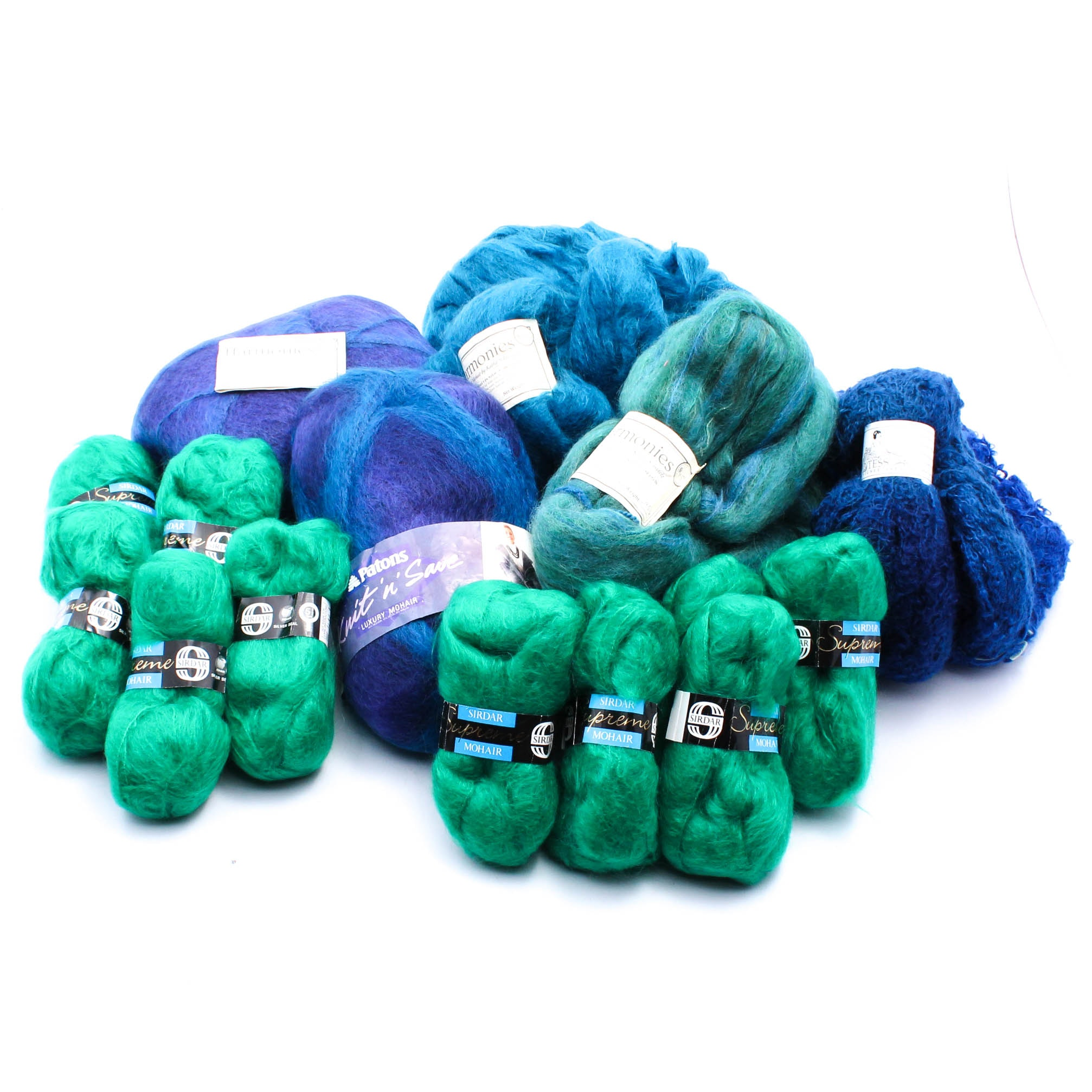 Hand-Dyed Mohair Blend Boucle Yarn