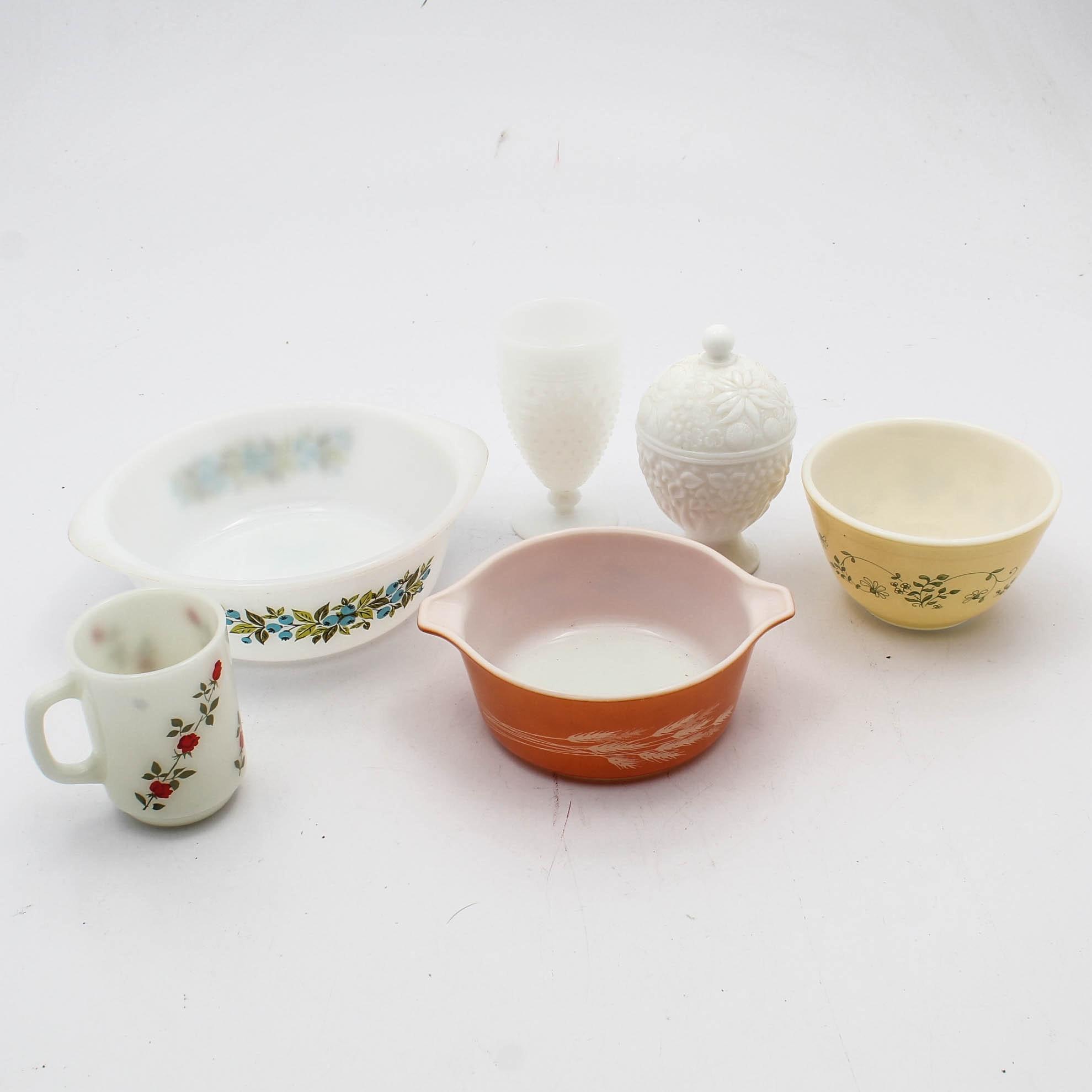 Vintage Pyrex Milk Glass Tableware