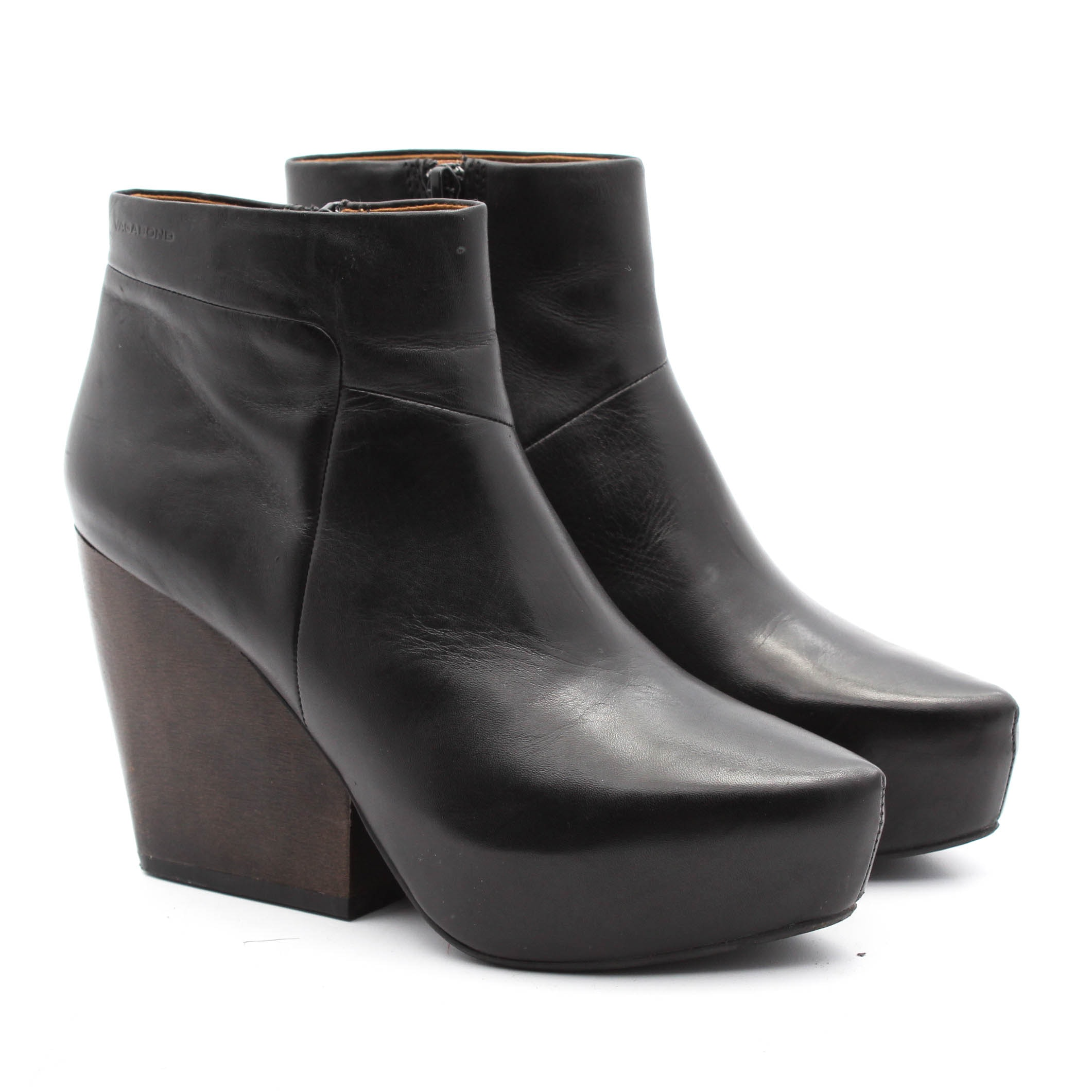 Vagabond Vera Black Leather and Wooden Boots