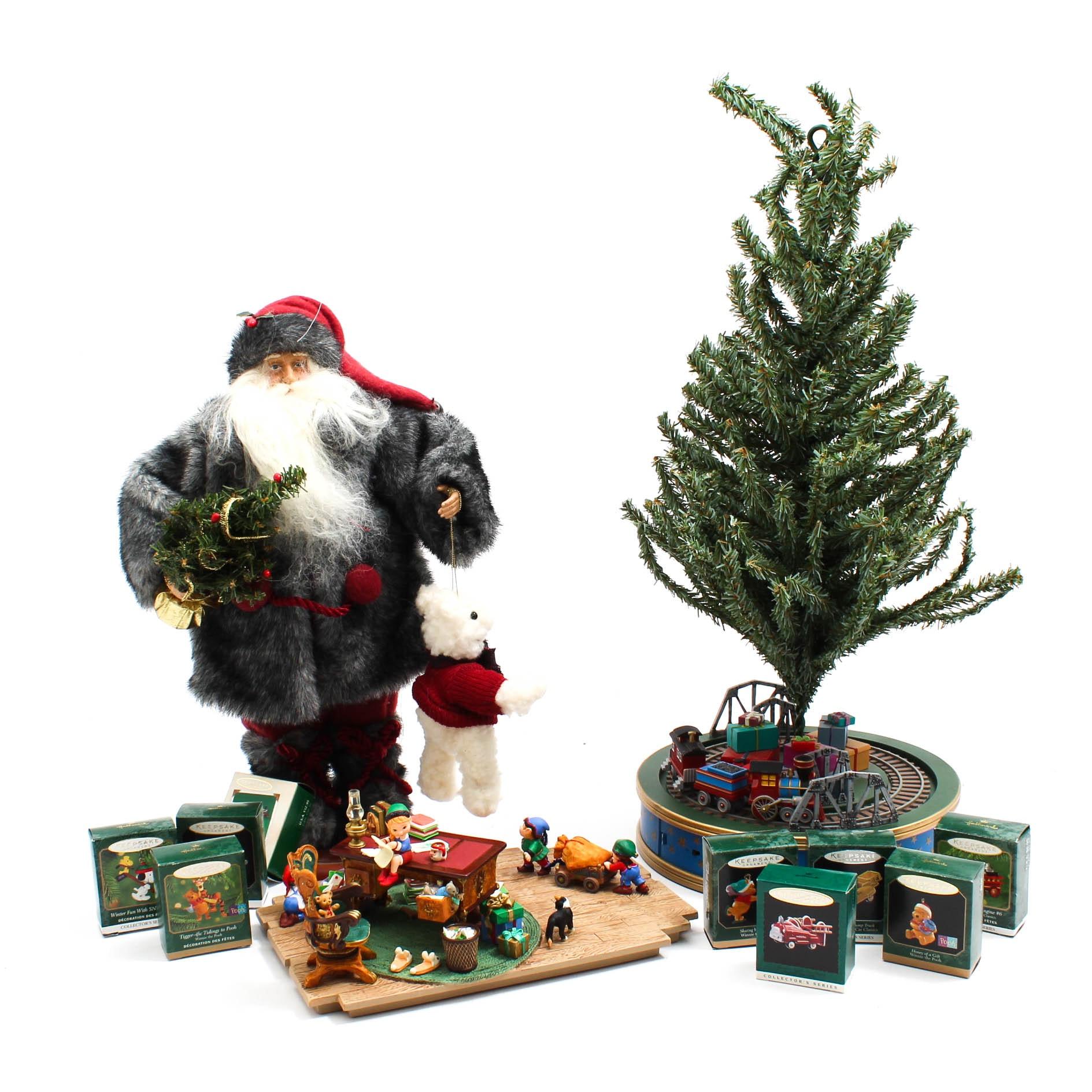 Christmas Decorations with Hallmark Train and Santa's Desk