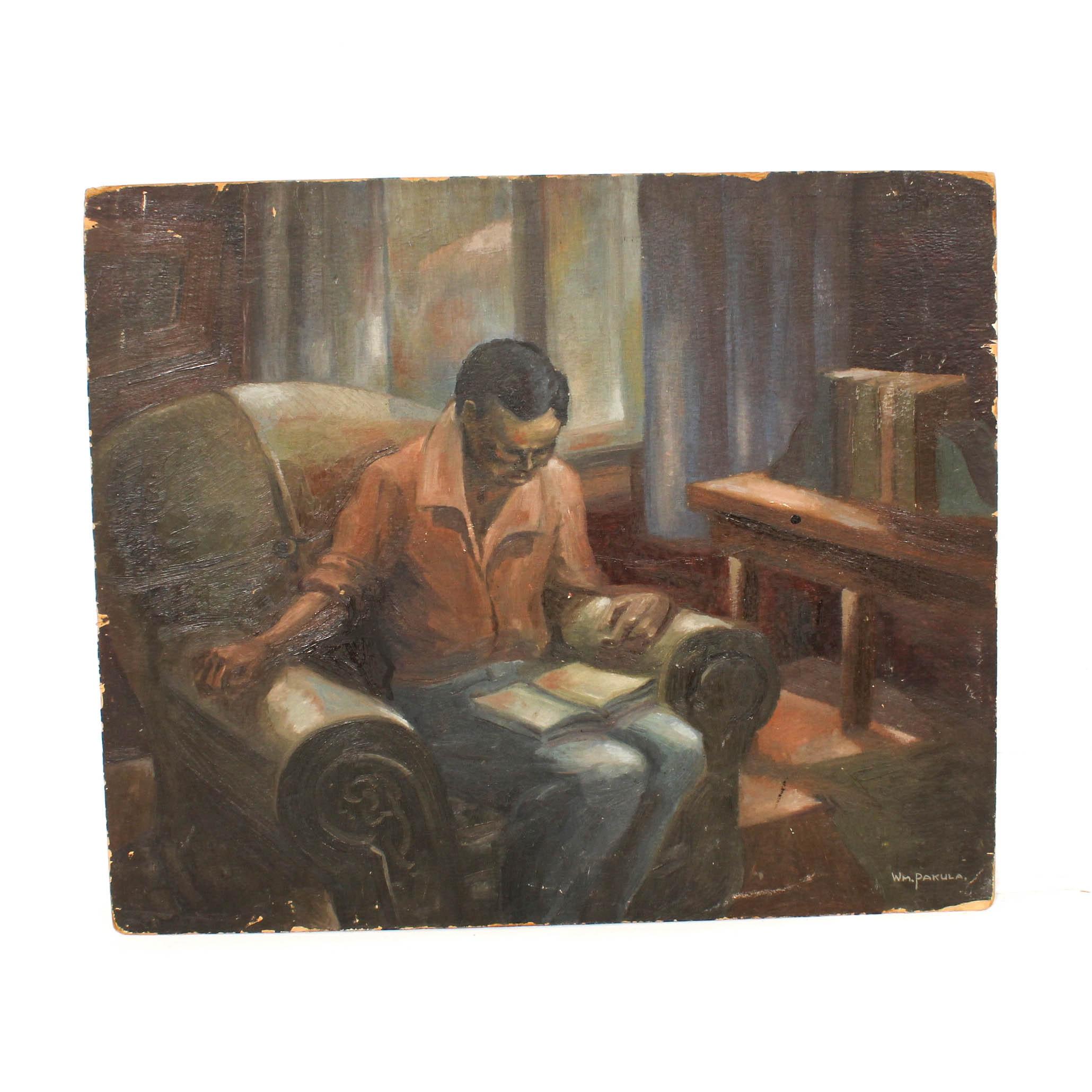 William Pakula Oil Painting Interior Scene