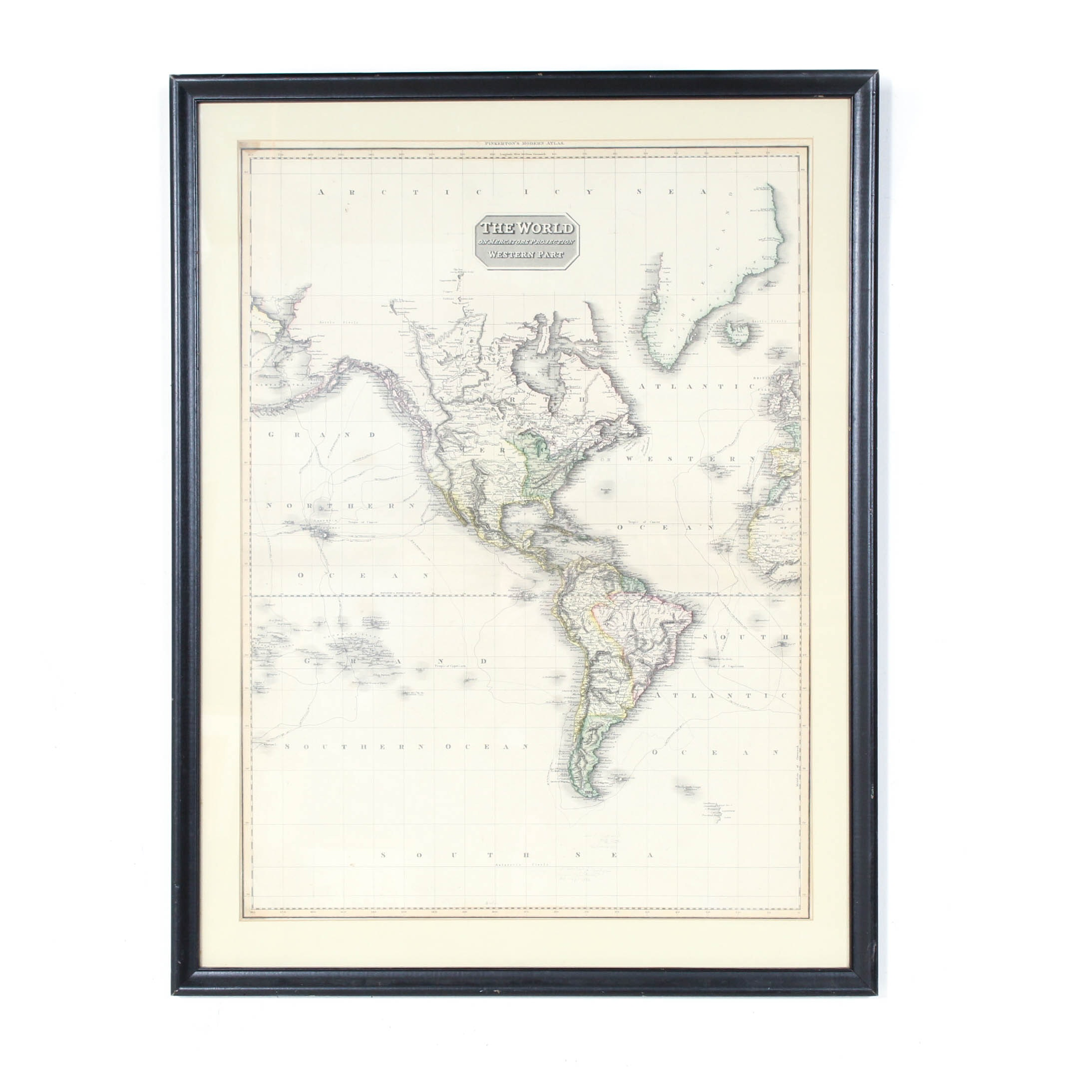 """Engraved Map """"The World on Mercators Projection: Western Part"""""""