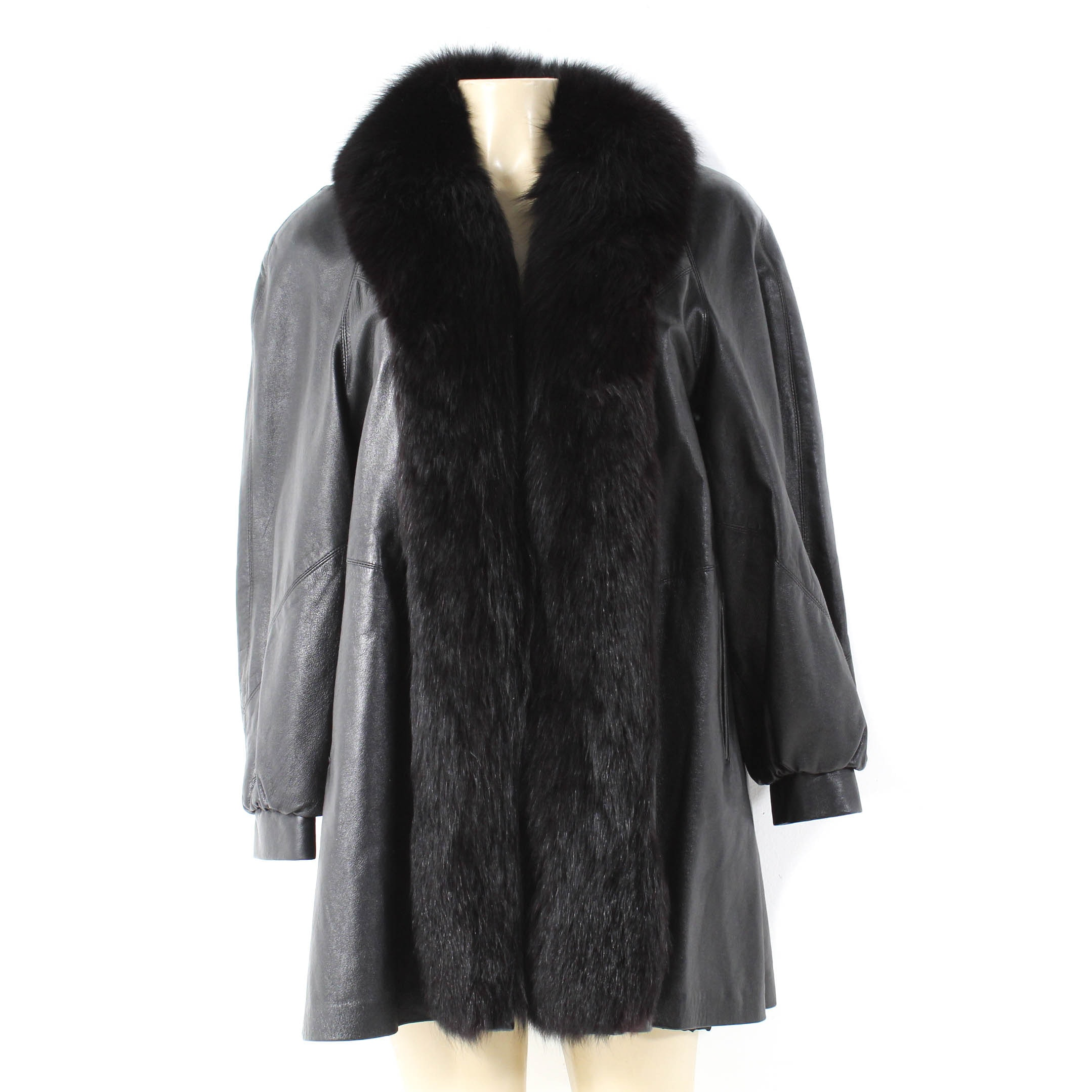 Vintage Leather Coat with Black Fox Fur Tuxedo Collar