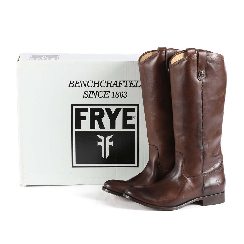Frye Melissa Button dark Brown Leather Boots