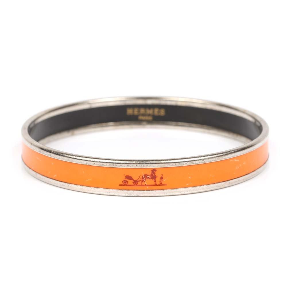 Hermès Enamel Accented Bangle Bracelet