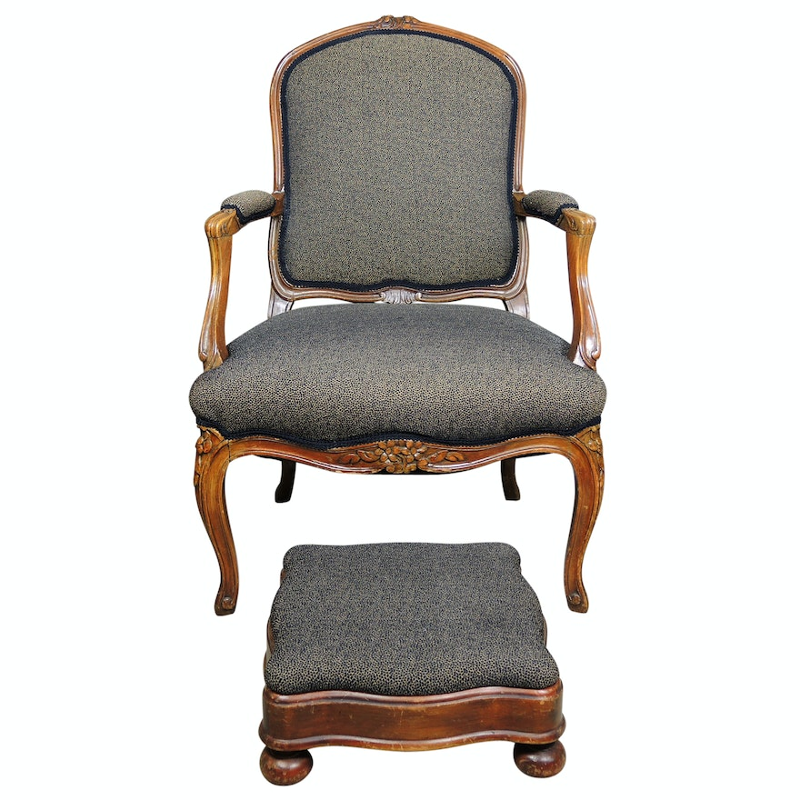 Queen Anne Style Armchair with Footstool