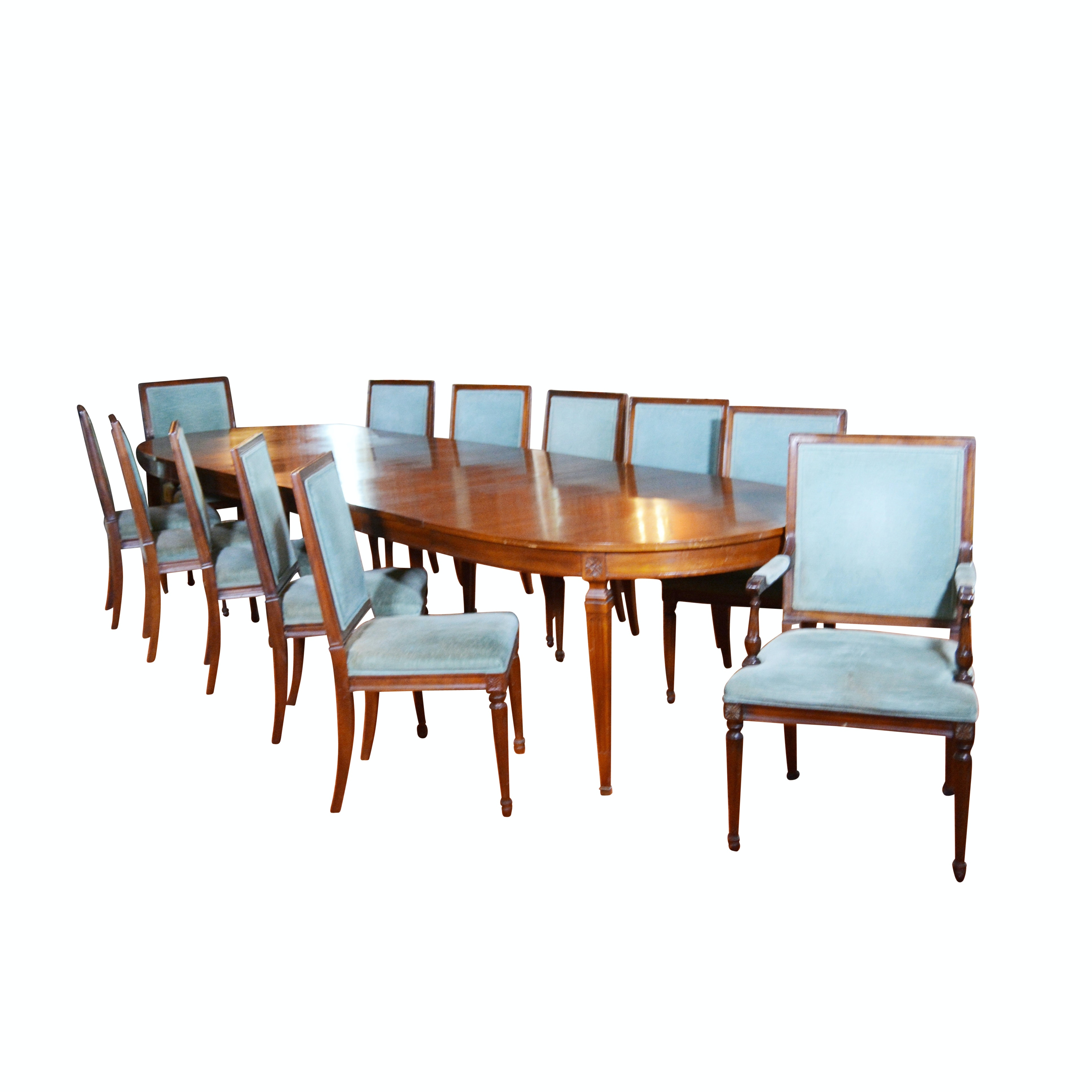 Federal Style Dining Room Table and Chairs by Kindel Furniture, Mid-20th Century