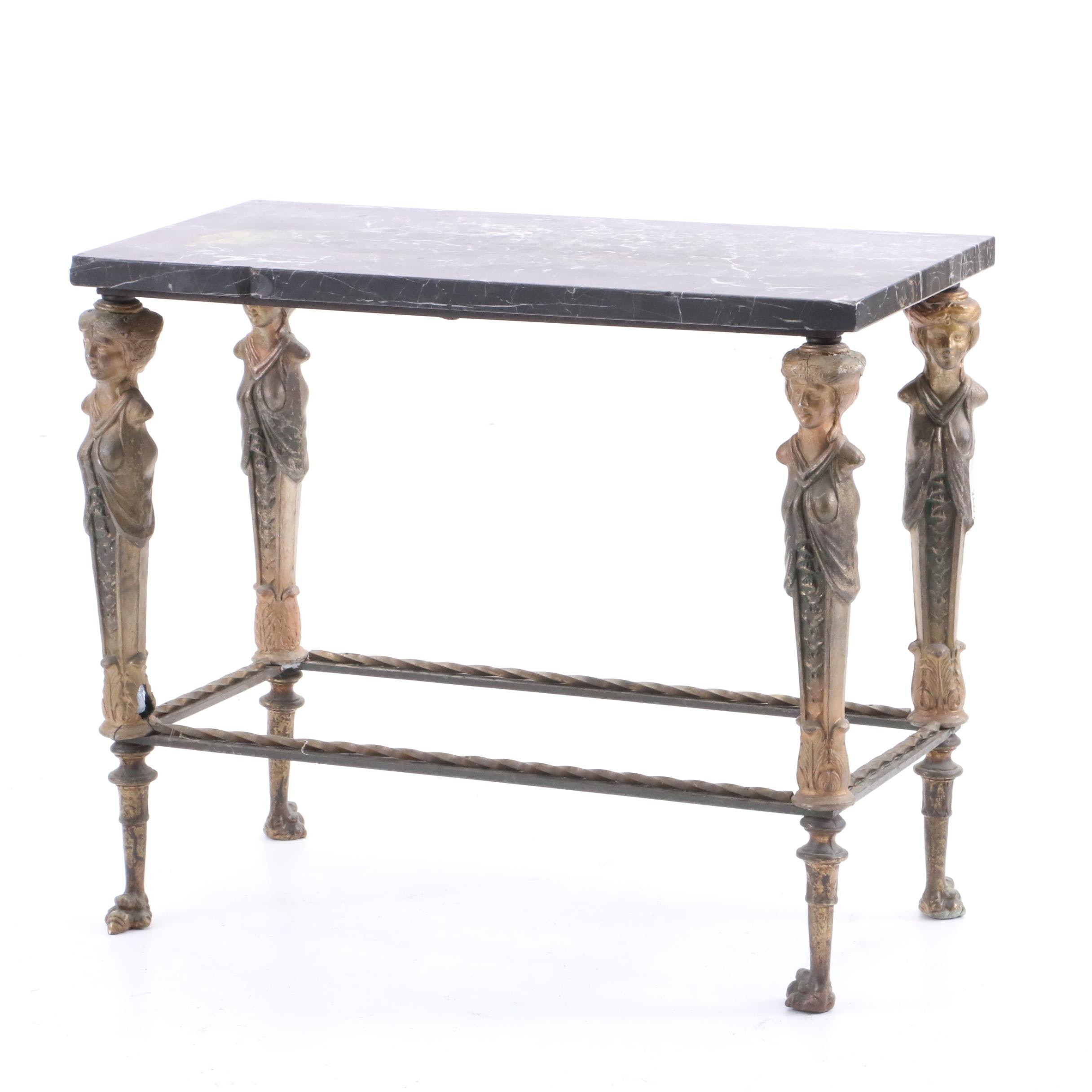 Neoclassical Style Metal and Marble Table with Caryatids, 20th Century
