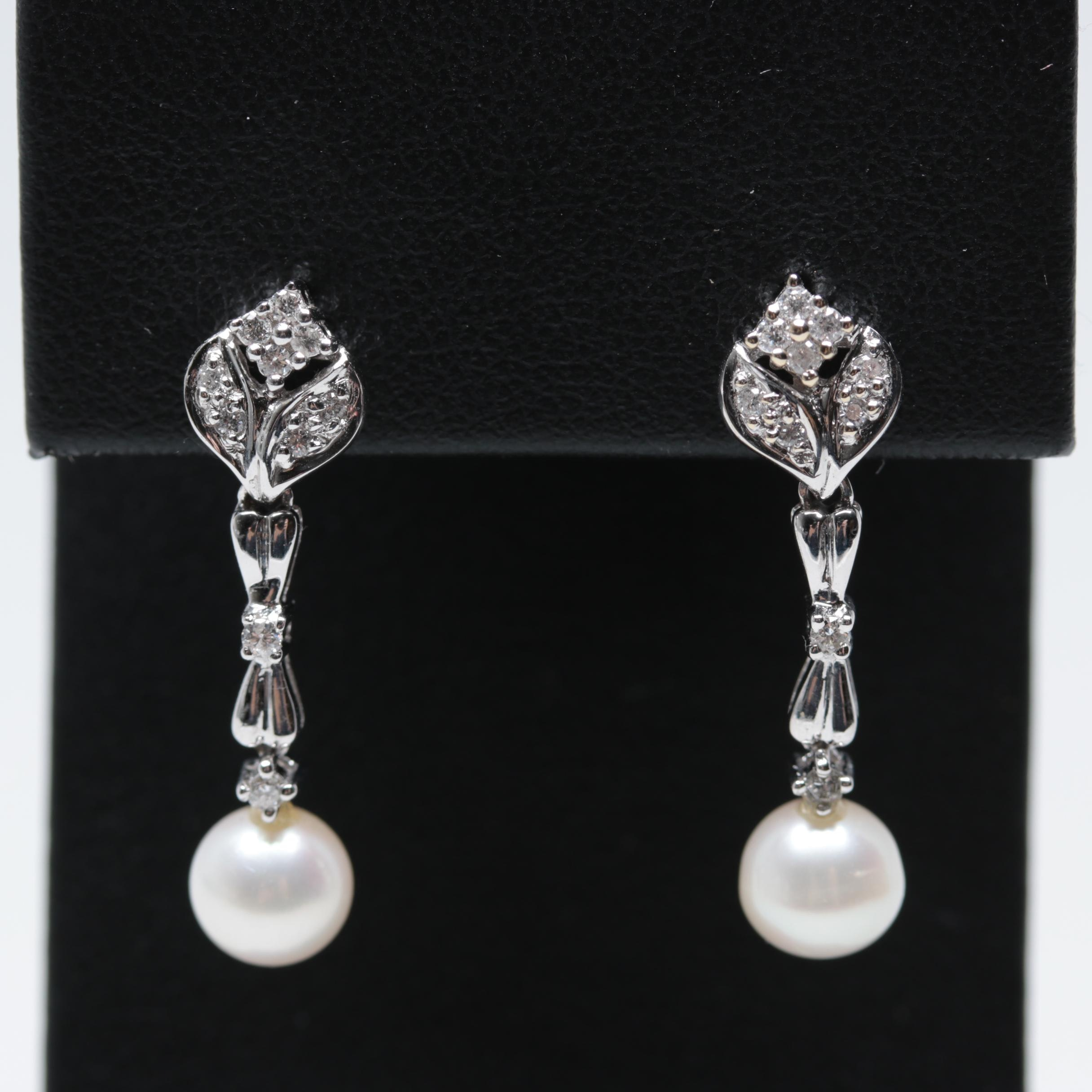 18K White Gold Cultured Pearl and Diamond Drop Earrings