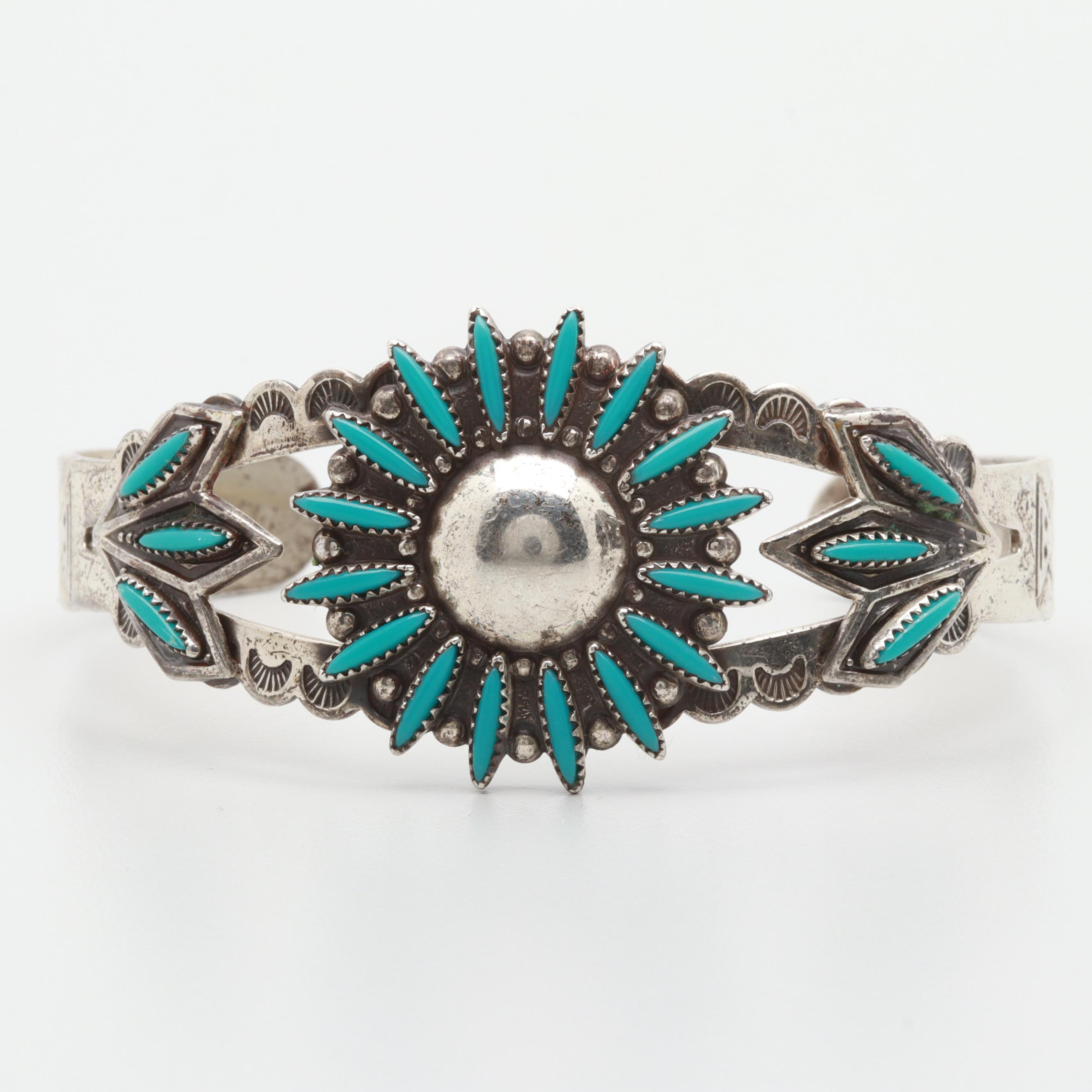Southwestern Style Bell Trading Post Sterling Silver Imitation Turquoise Cuff