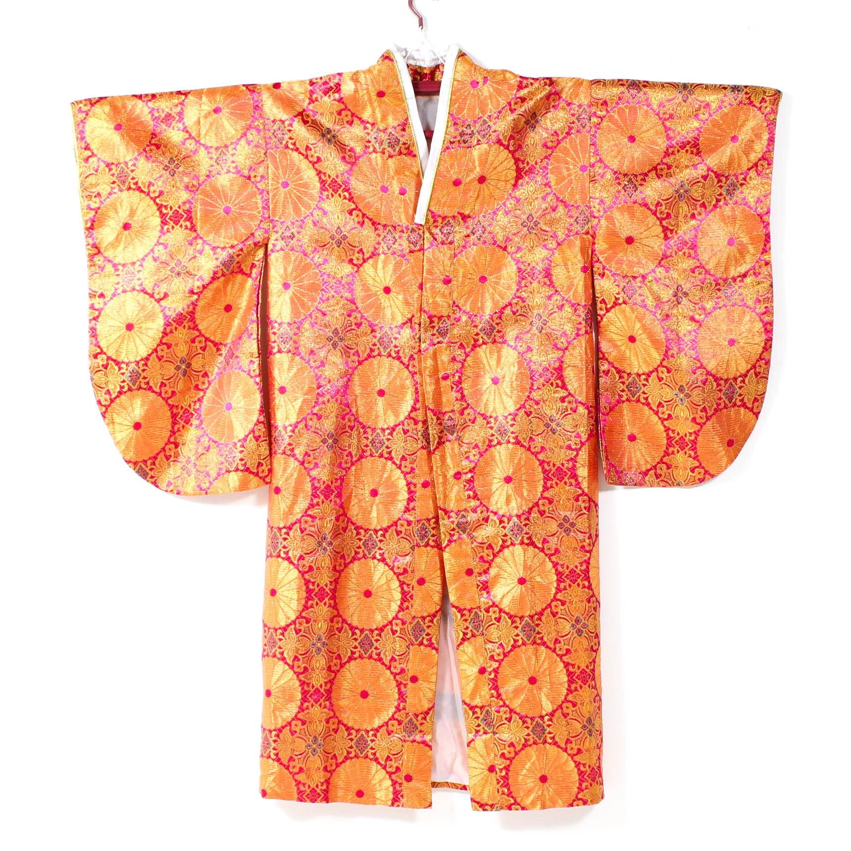 Vintage Brocade Kofurisode Kimono with Chrysanthemum Motif