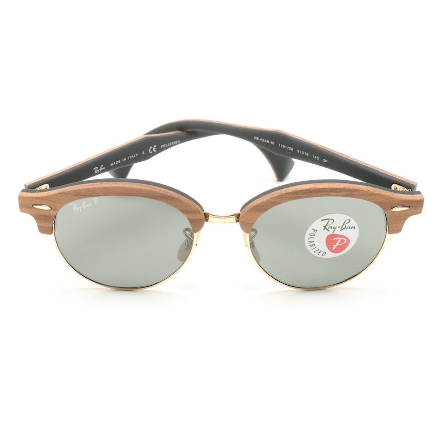 598d2bac737 Ray-Ban Wooden Clubround Classic Polarized Sunglasses   EBTH