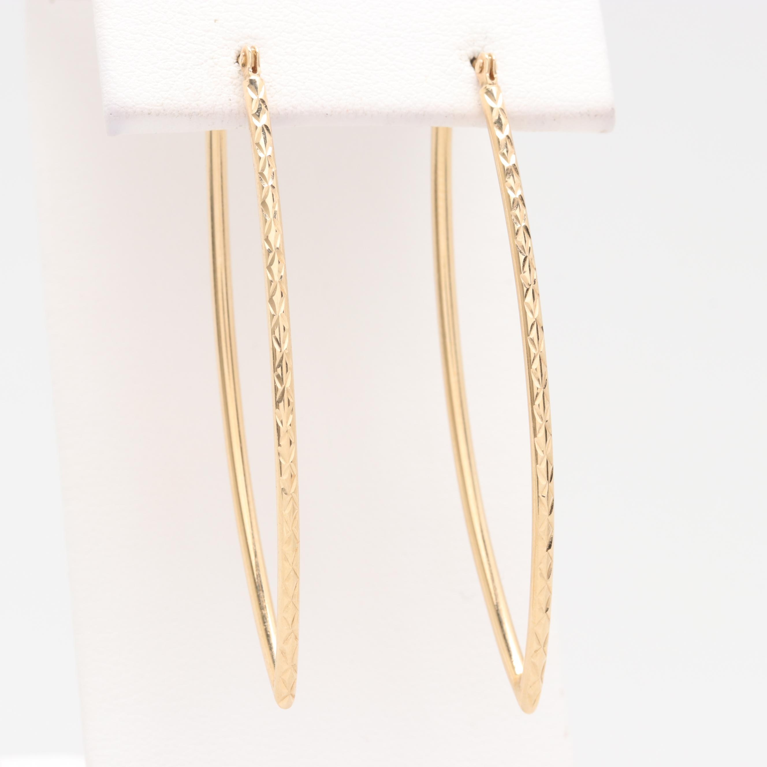 14K Yellow Gold Textured Drop Hoop Earrings