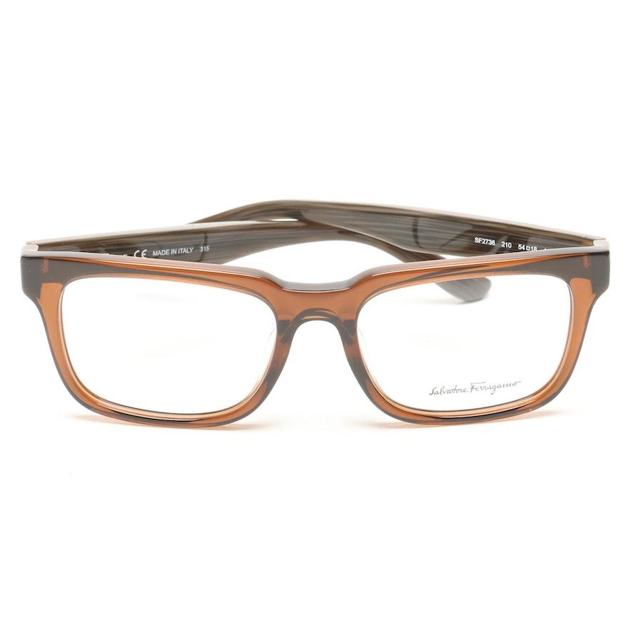 0ab0ae2b0dd Salvatore Ferragamo Brown Transluscent Horn-Rimmed Style Eyeglasses   EBTH