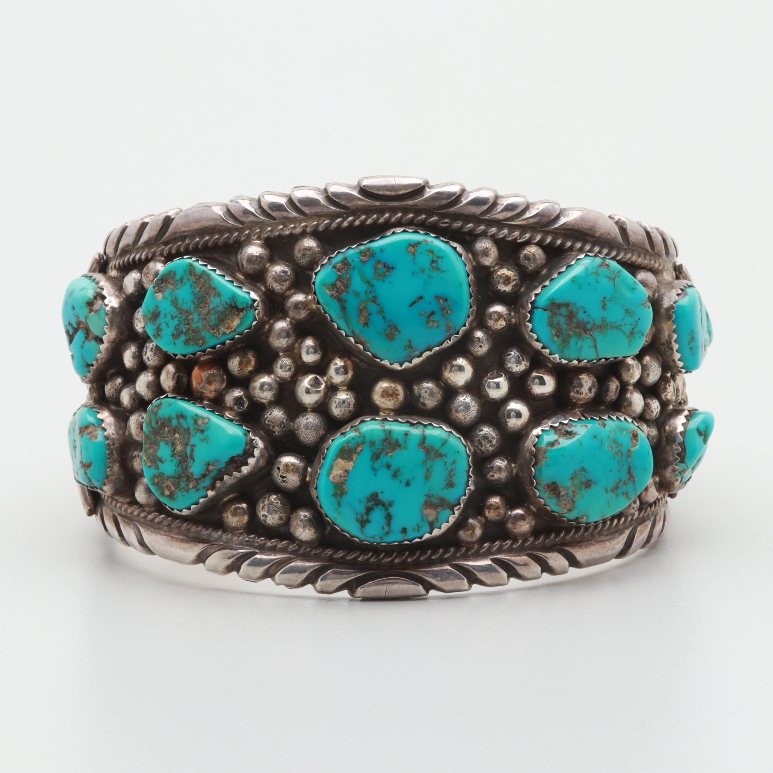 Darrell Brown Choctaw Sterling Silver Turquoise Cuff