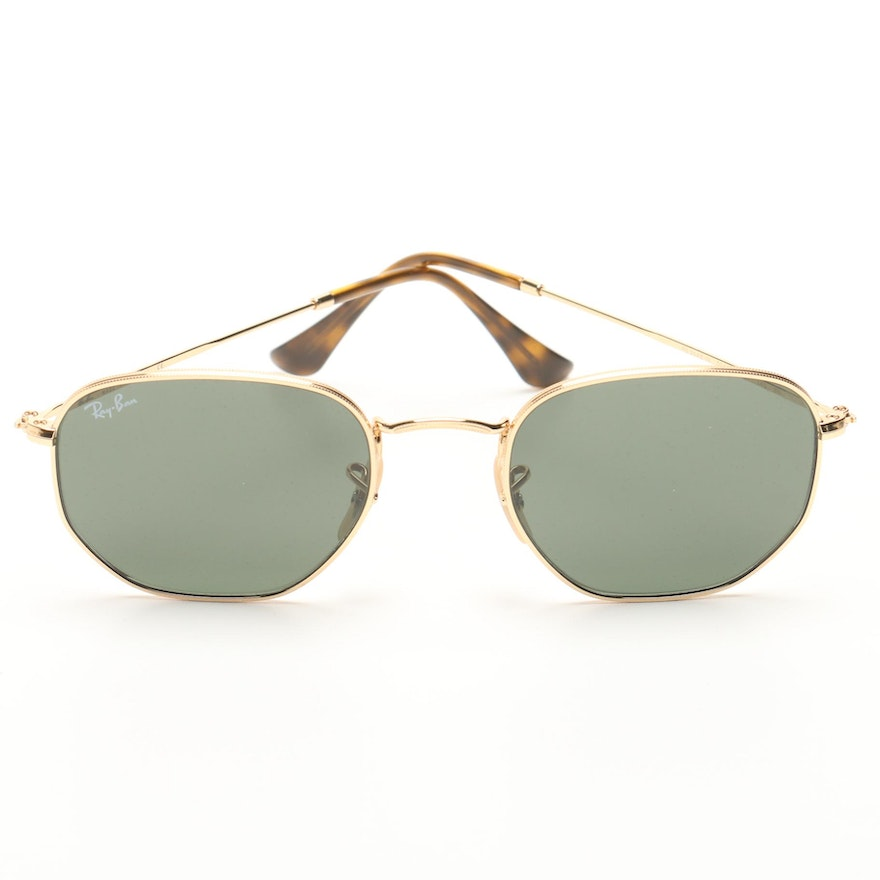 a1d40f5330 Ray-Ban Hexagonal Gold Tone Sunglasses   EBTH