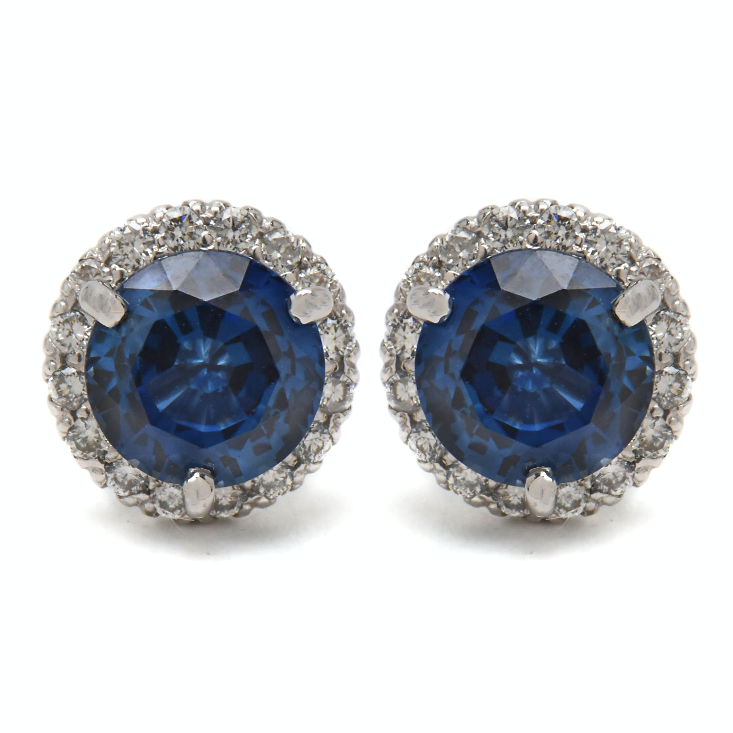 18K White Gold 3.00 CTW Sapphire and Diamond Halo Stud Earrings with AGL Report