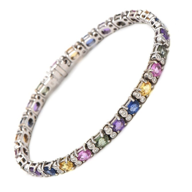 14K White Gold Multi-Colored Sapphire and 1.00 CTW Diamond Tennis Bracelet