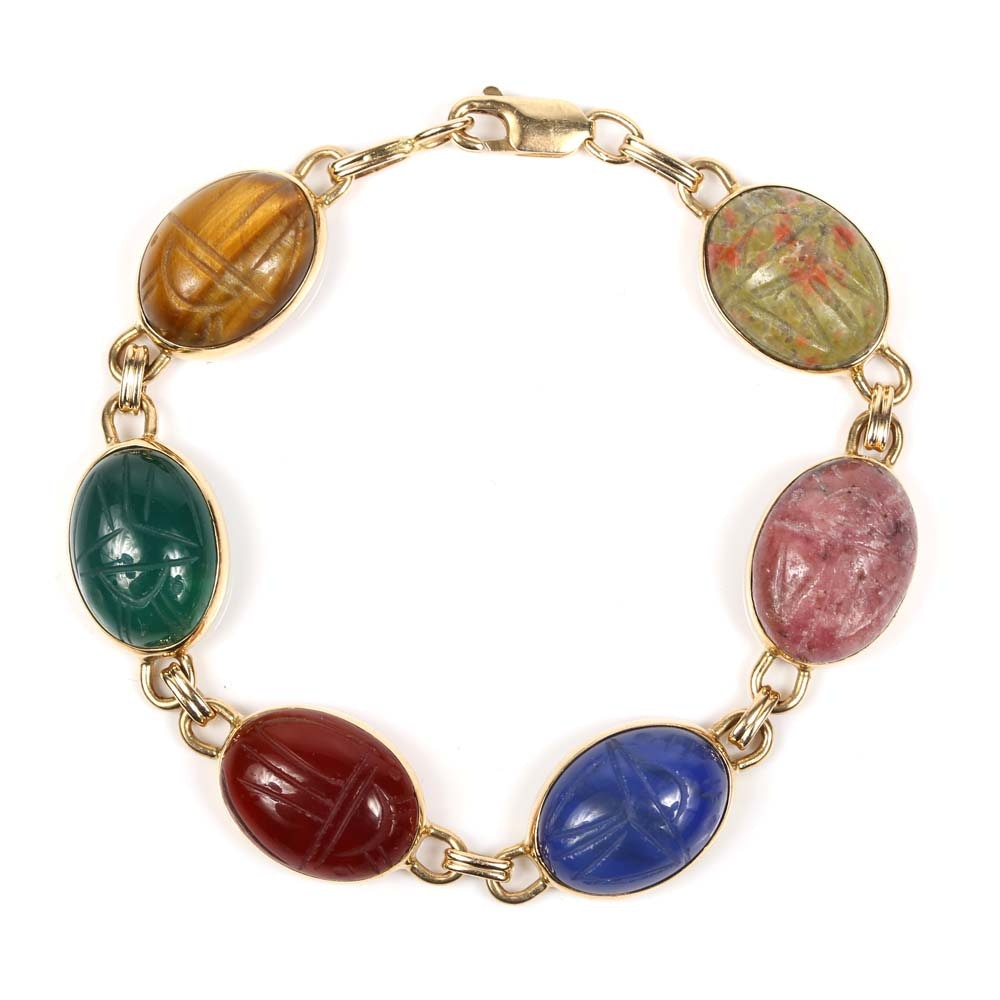 14K Yellow Gold Multi-Color Gemstone Scarab Bracelet