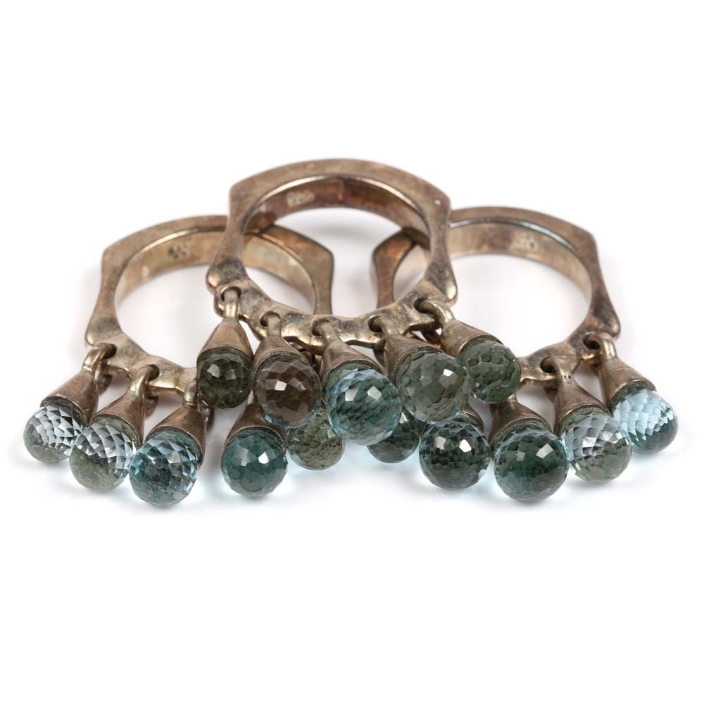 Gold Electroplate on Sterling Silver Blue Topaz Bead Stackable Rings