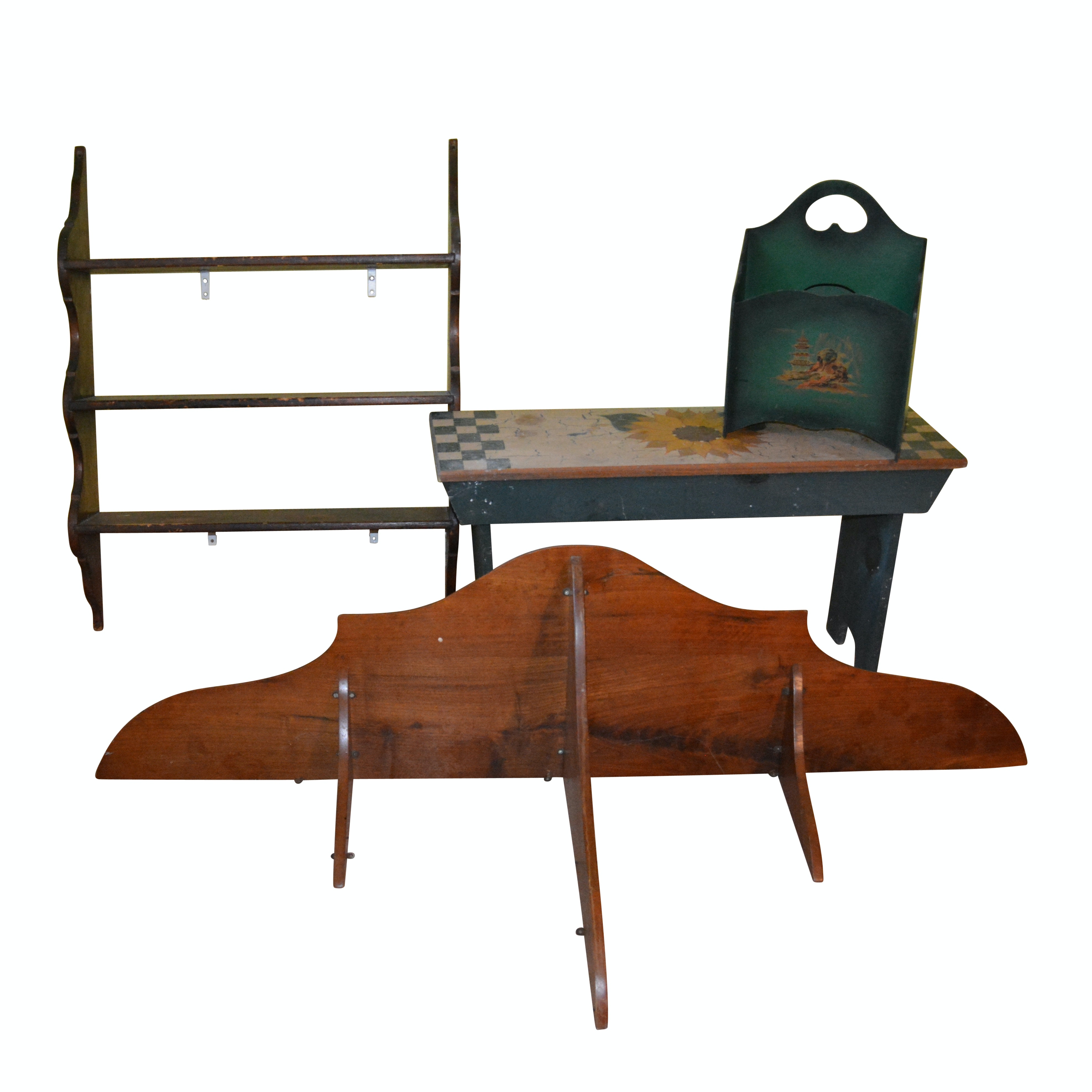 Painted Wooden Bench, Magazine Rack, Wooden Shelves, 20th Century