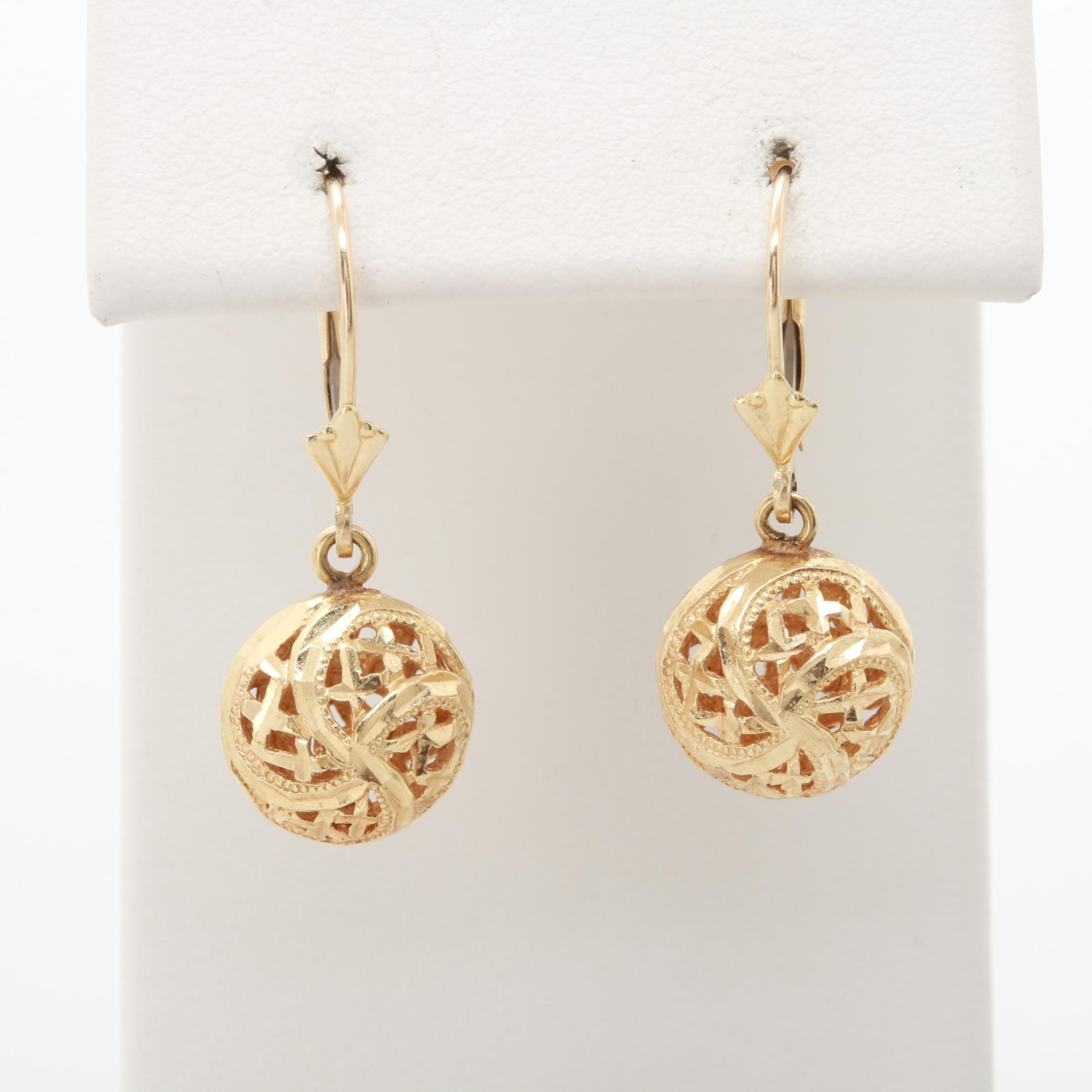 14K Yellow Gold Filigree Sphere Dangle Earrings