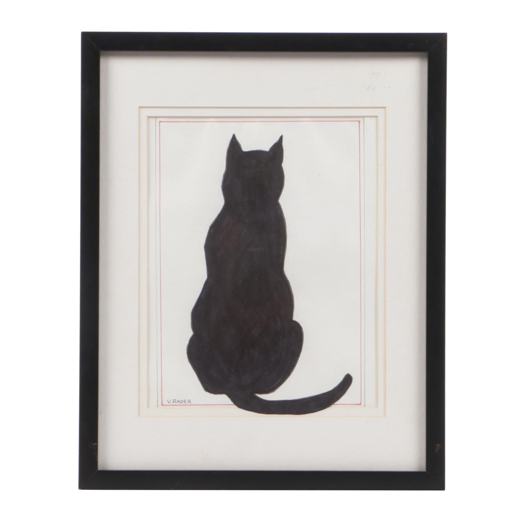 Vernon Rader Ink Drawing of a Cat