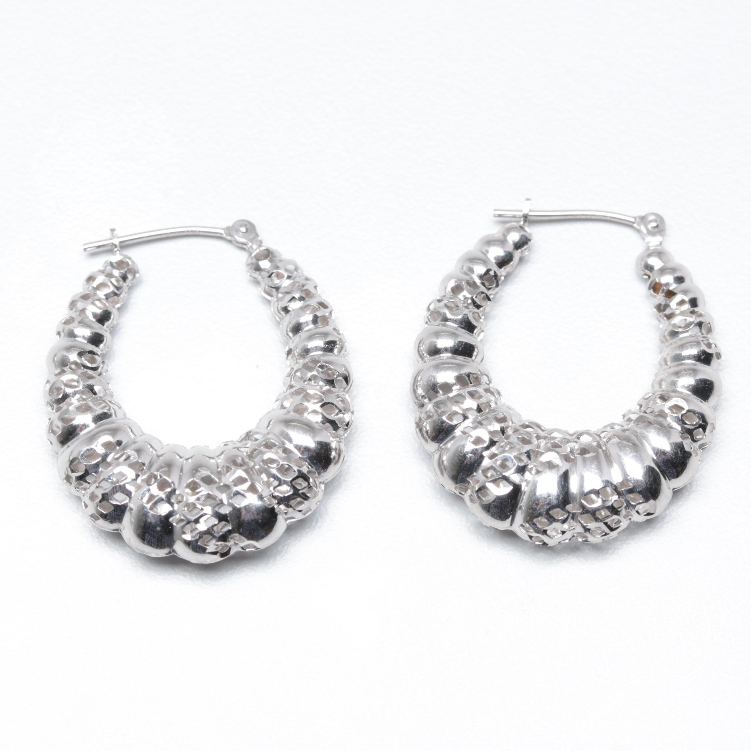 14k White Gold Shrimp Hoop Earrings Ebth