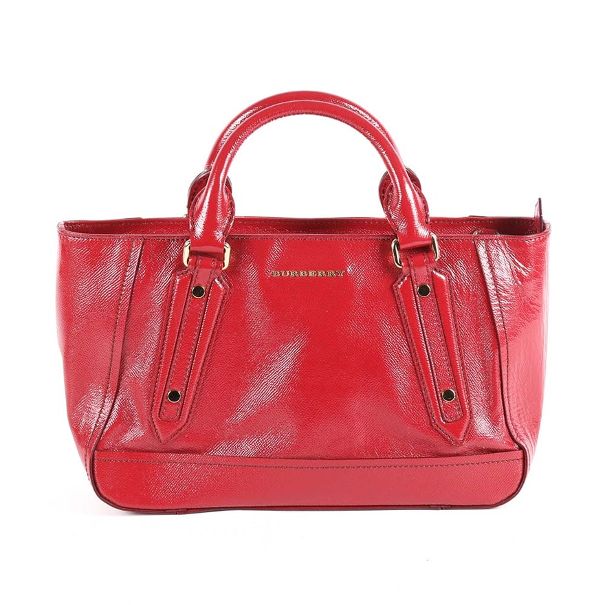 Burberry London Red Leather Somerford Tote   EBTH ae2c5fc816bc5