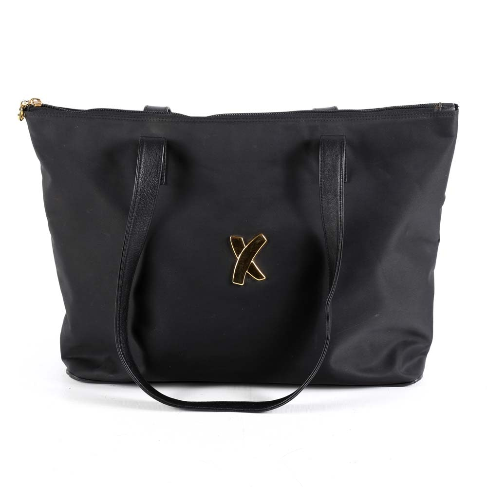 Paloma Picasso Black Nylon Tote with Leather Accents
