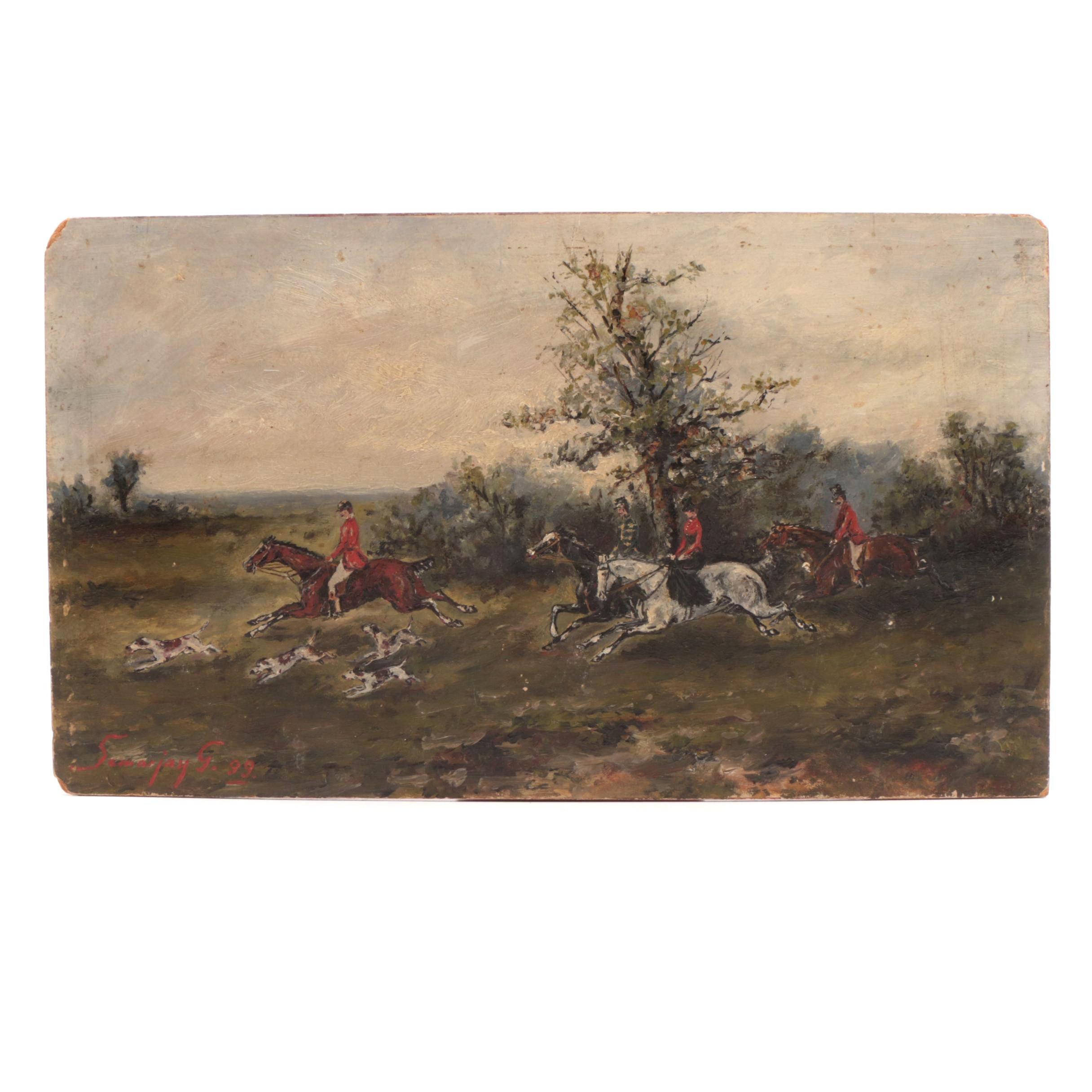 Samarjay G. 1899 Hunting Genre Oil Painting