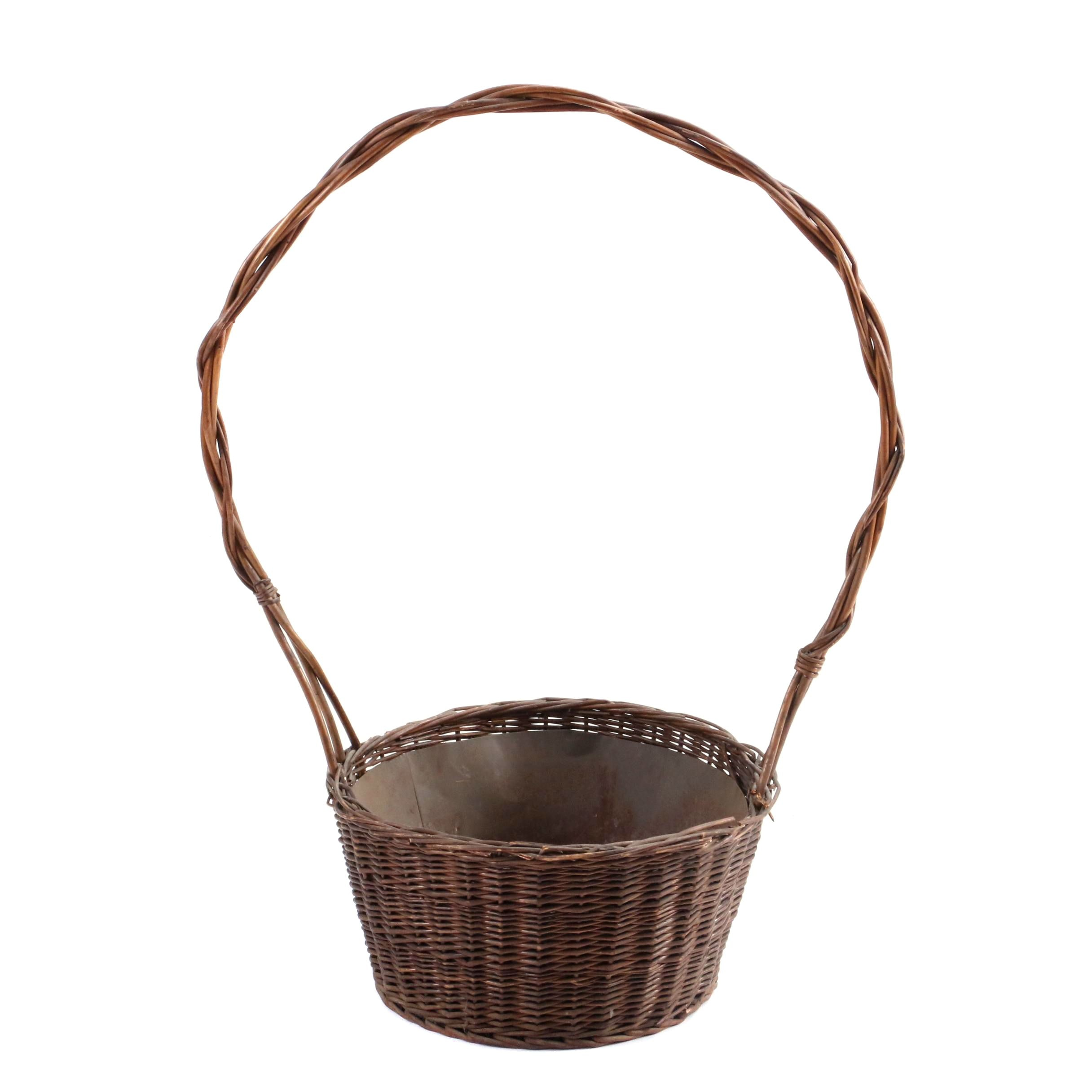 Woven Decorative Basket with Handle and Metal Liner