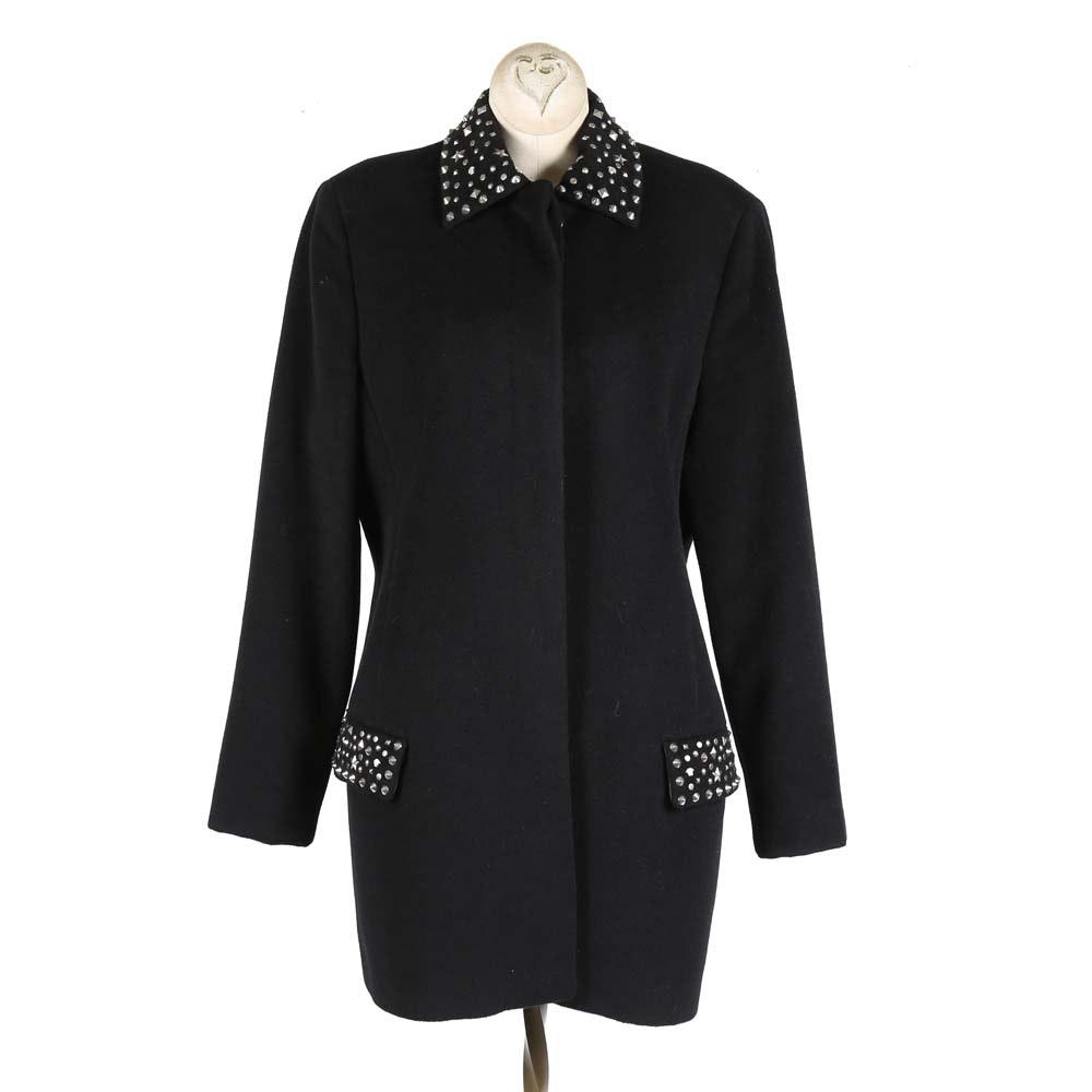 Women's Gianni Versace Couture Black Wool Blend Coat