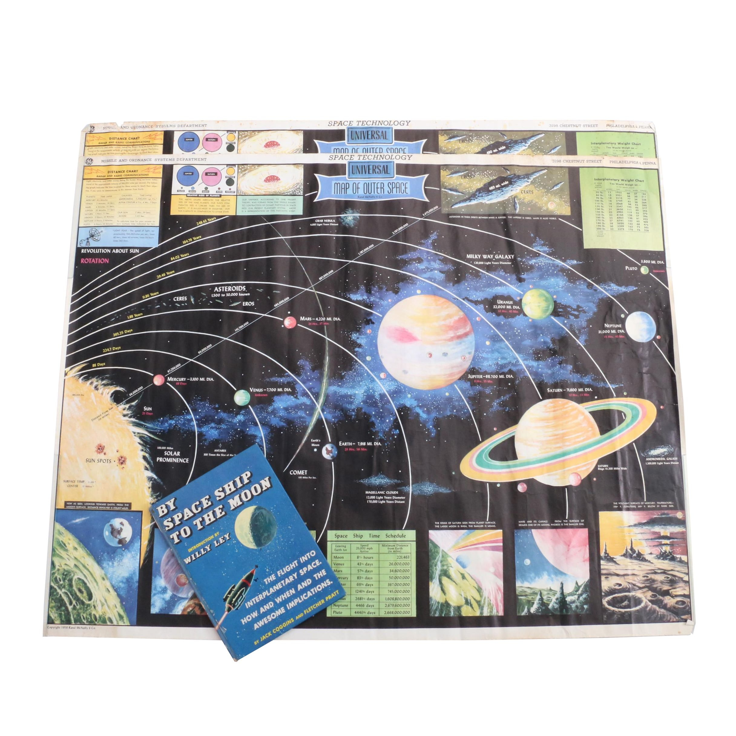 """1952 Copy of """"By Space Ship to the Moon"""" with Two Rand McNally Outer Space Maps"""