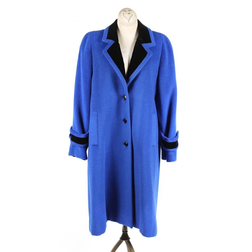 Vintage Christian Dior Blue Wool Peacoat