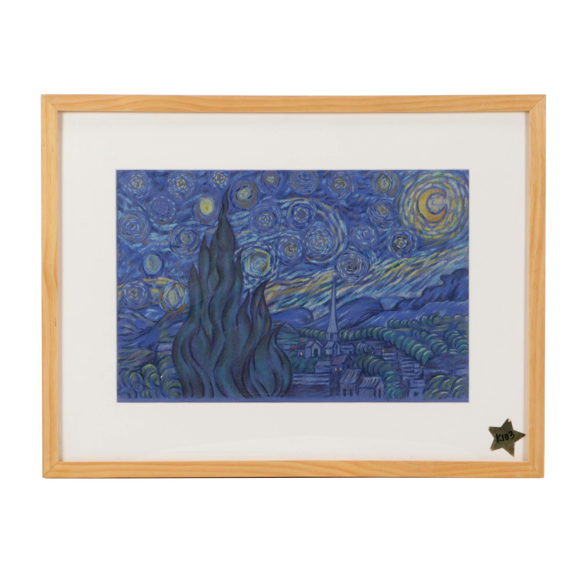 "Colored Pencil Copy Drawing after Van Gogh ""The Starry Night"""