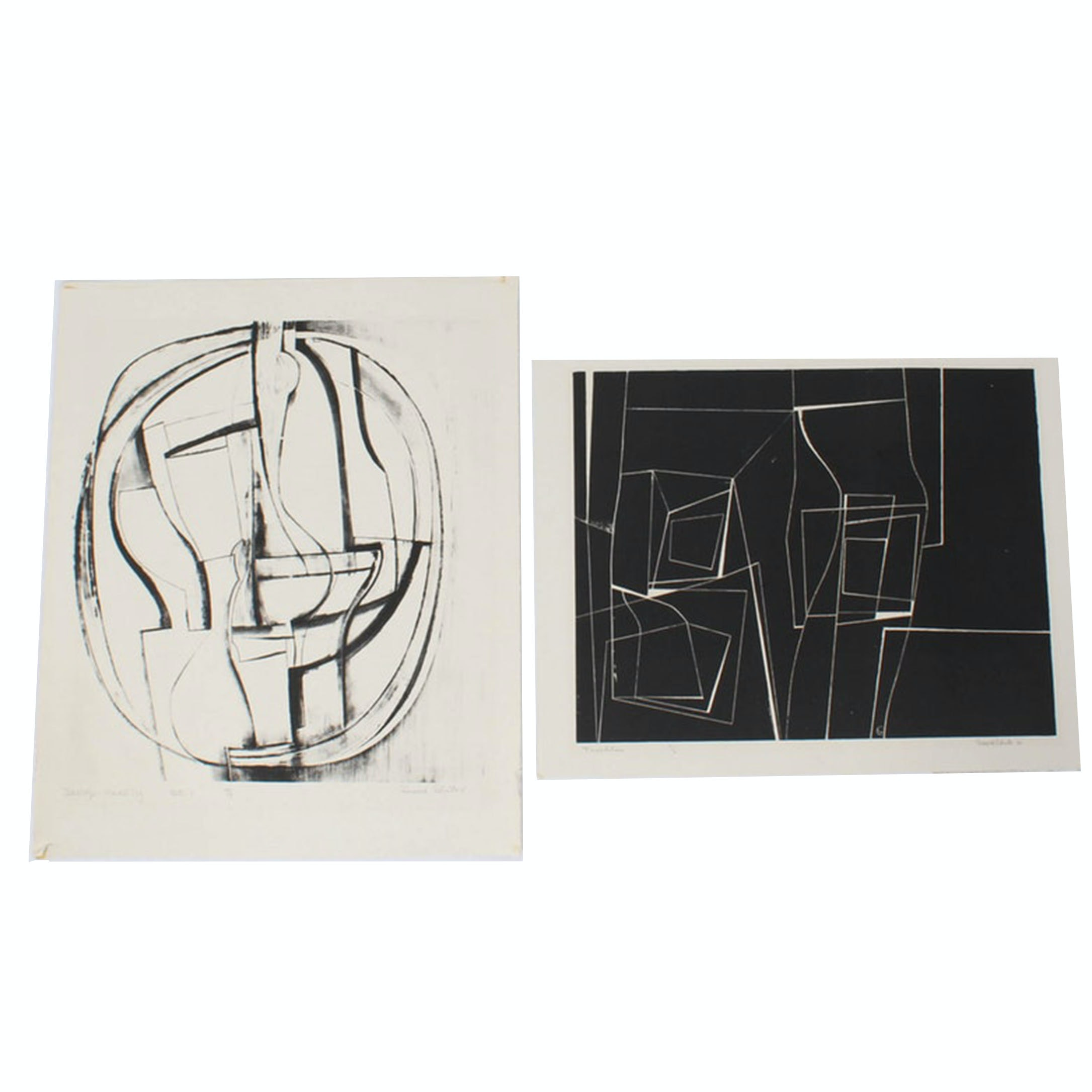 """Donald Roberts 1960s Lithographs """"Trochlea"""" and """"Still Life - Marble Fog"""""""