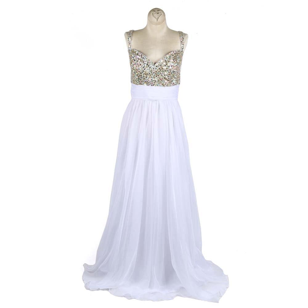 La Femme Rhinestone Accented Prom Dress