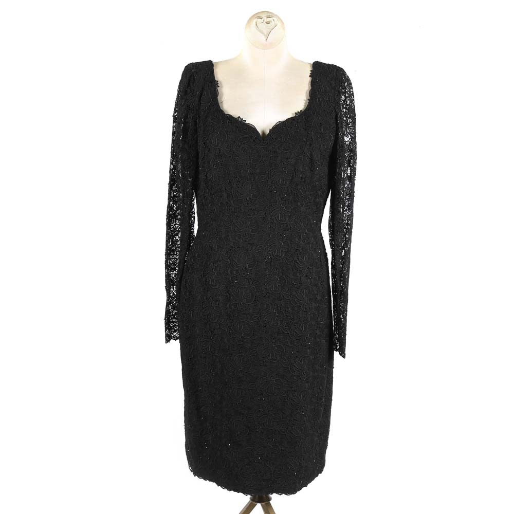 Helen Morley Black Lace Cocktail Dress