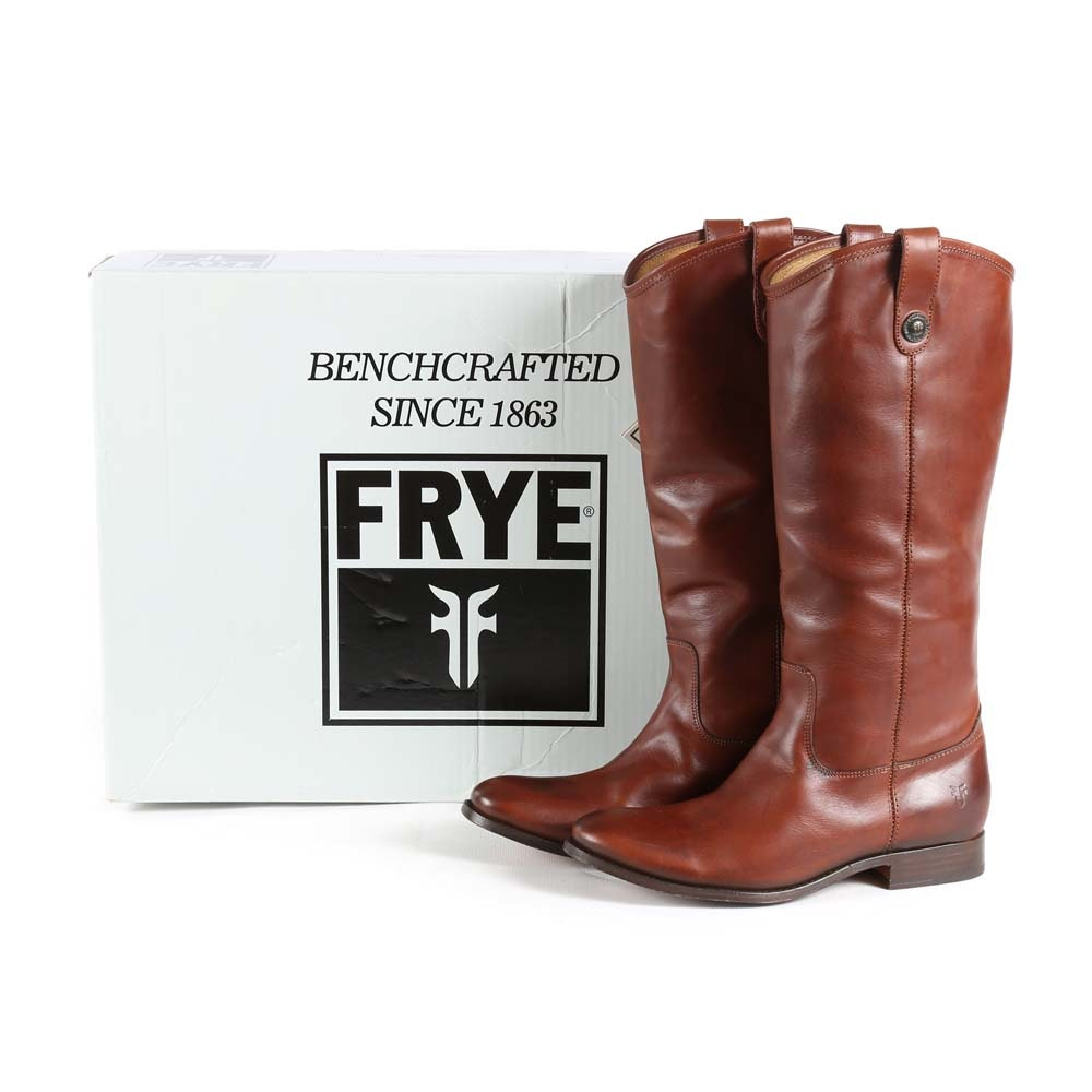 Frye Melissa Button Extended Calf Cognac Brown Leather Boots